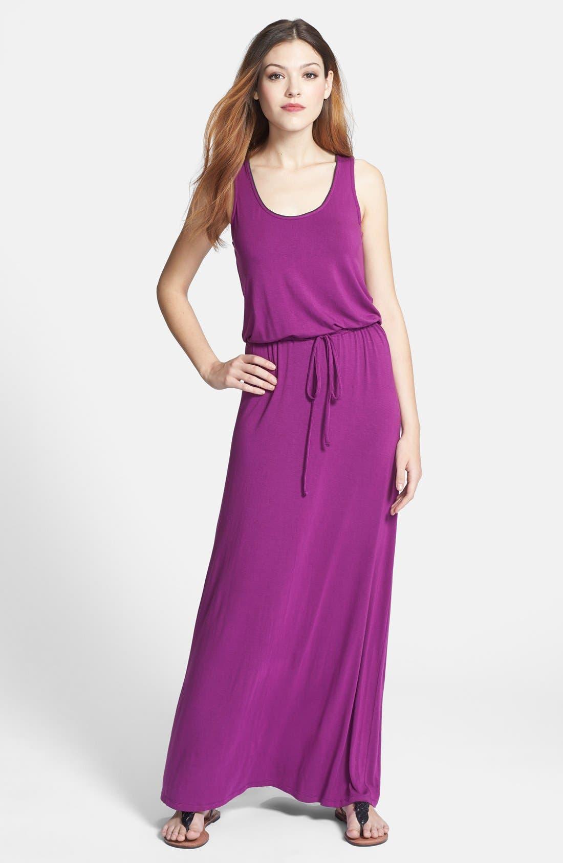 Contrast Stripe Racerback Maxi Dress,                             Main thumbnail 1, color,                             Purple Phlox/ Heather Charcoal