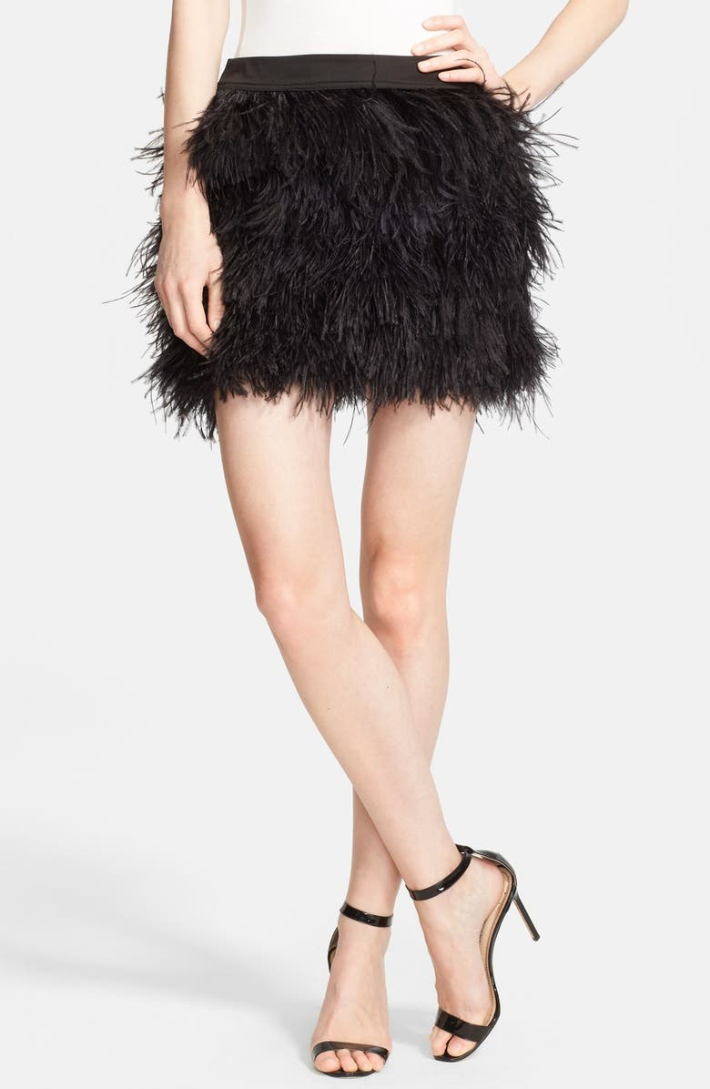 Faux Ostrich Feather Miniskirt