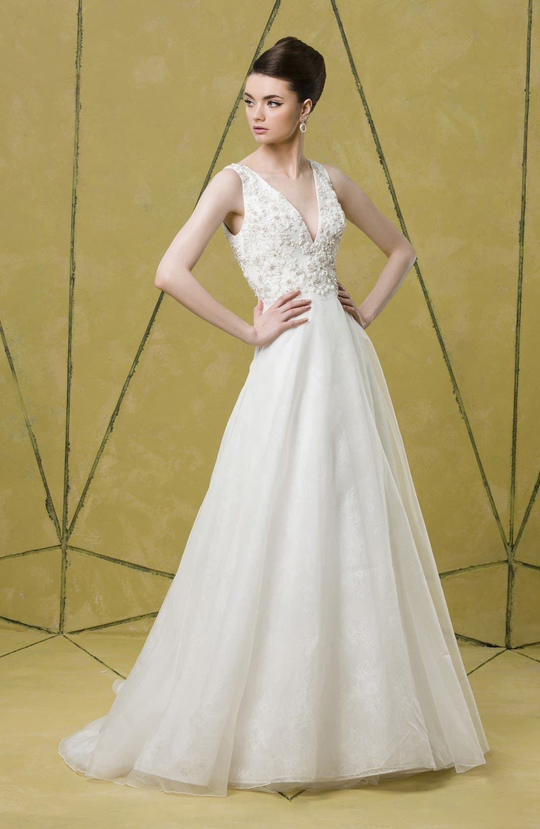 Alternate Image 4  - Badgley Mischka Bridal 'Lana' Embellished Silk Organza Dress (In Stores Only)