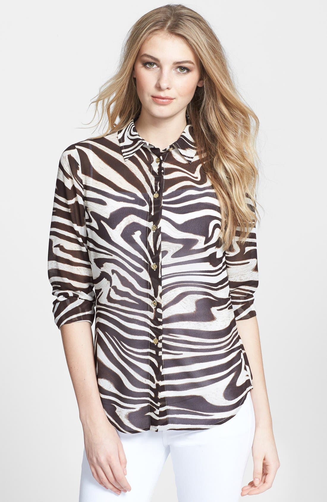 Alternate Image 1 Selected - MICHAEL Michael Kors Print Long Sleeve Fitted Blouse