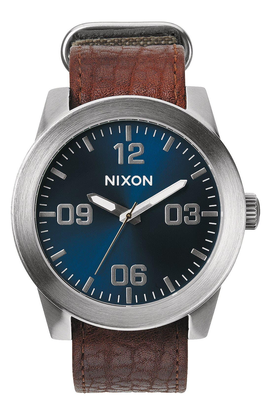 'The Corporal' Watch, 48mm,                         Main,                         color, Brown/ Blue