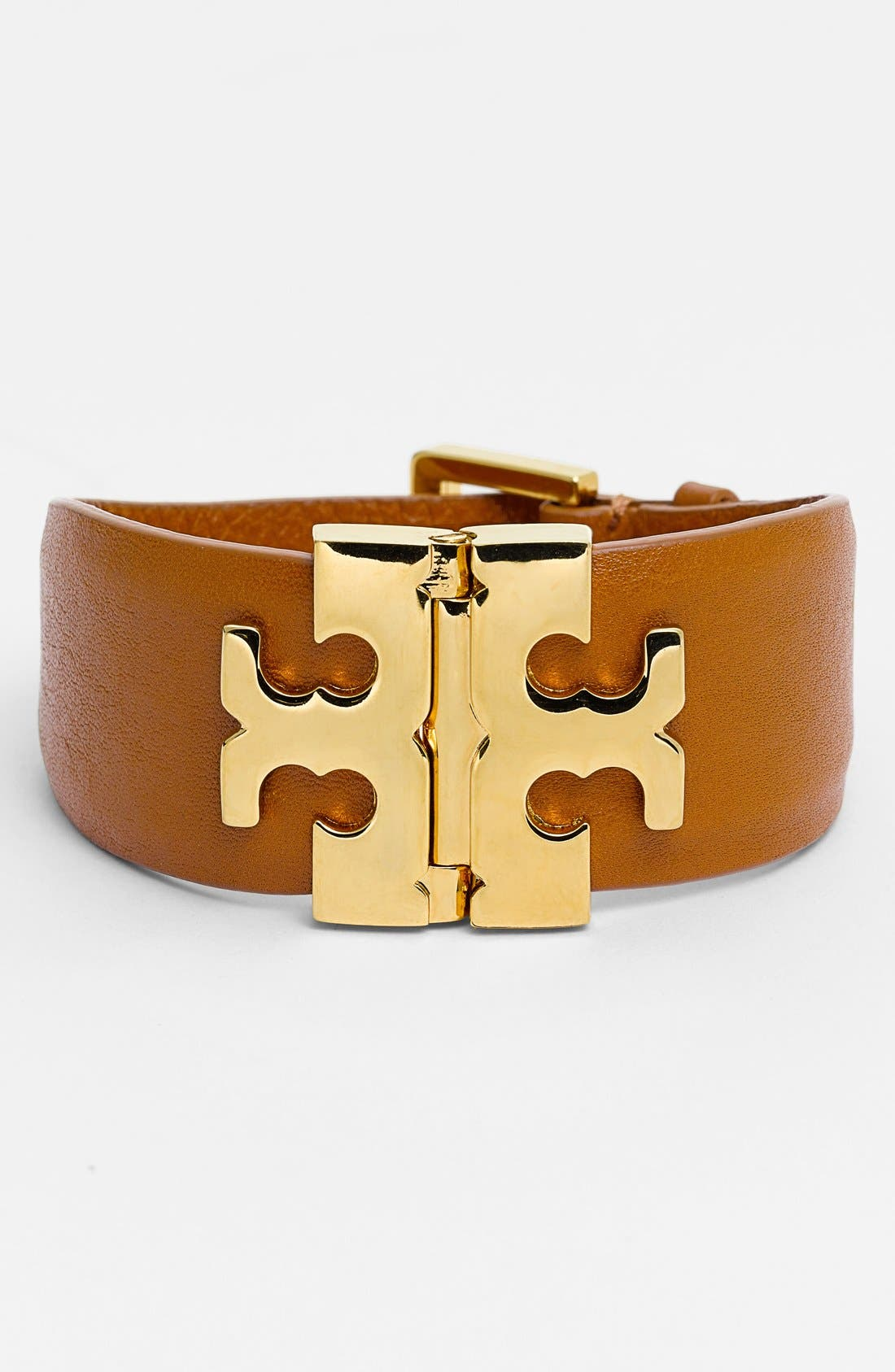Alternate Image 1 Selected - Tory Burch Wide T-Hinge Leather Bracelet