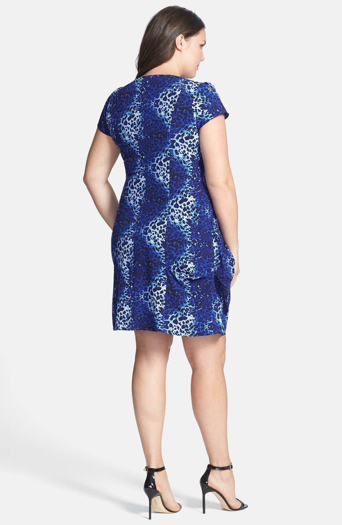 Alternate Image 2  - City Chic 'Pool Leopard' Print Front Zip Pleat Tunic (Plus Size)
