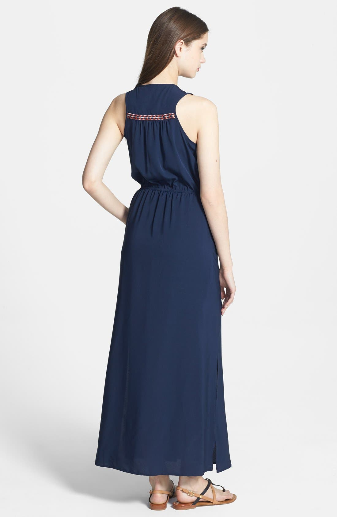 Alternate Image 2  - Olive & Oak Embroidered Trim Maxi Dress
