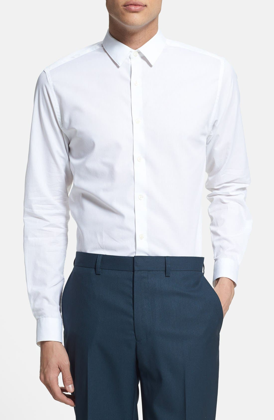 Alternate Image 2  - Topman Slim Fit Textured Cotton Dress Shirt