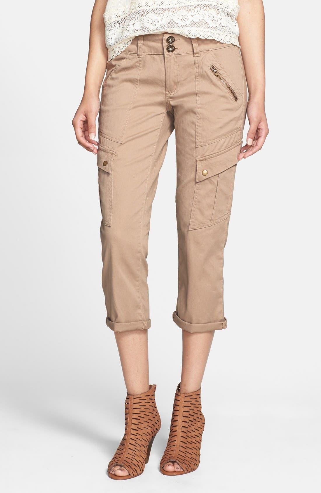 Main Image - Jolt Cargo Pocket Crop Pants (Juniors) (Online Only)
