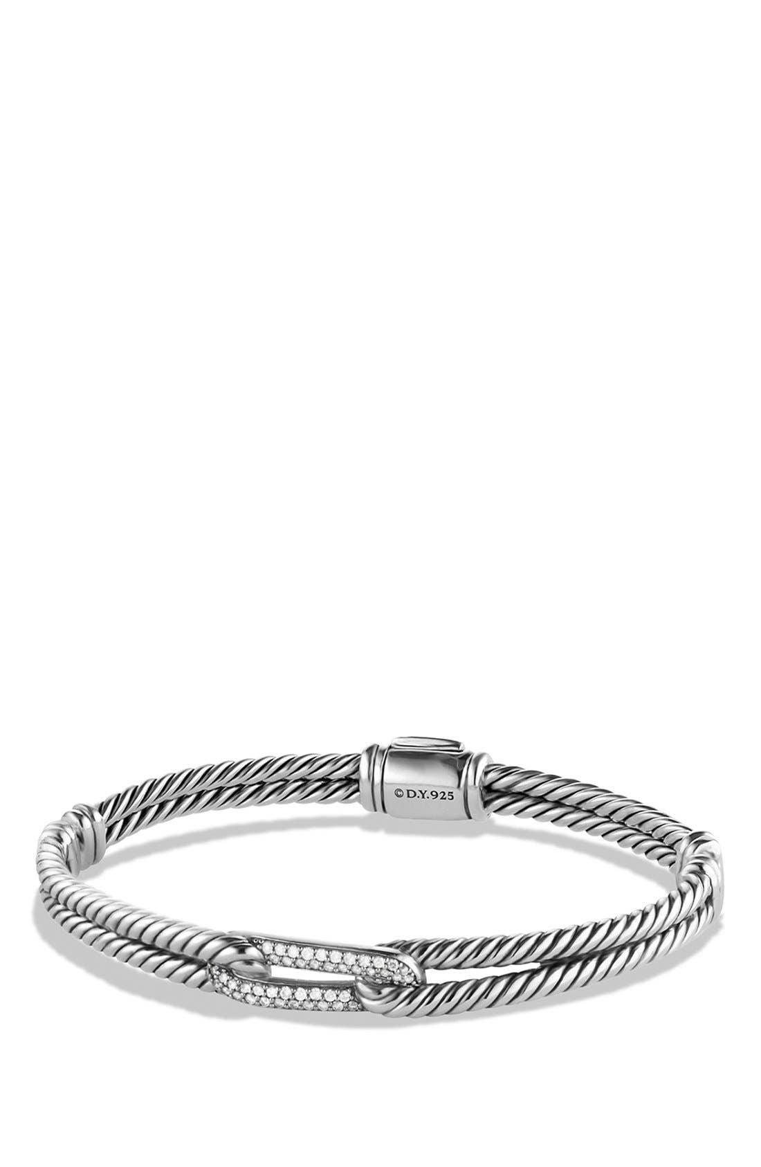 Petite Pavé 'Labyrinth' Mini Single Loop Bracelet with Diamonds in Gold,                         Main,                         color, Diamond/ Silver