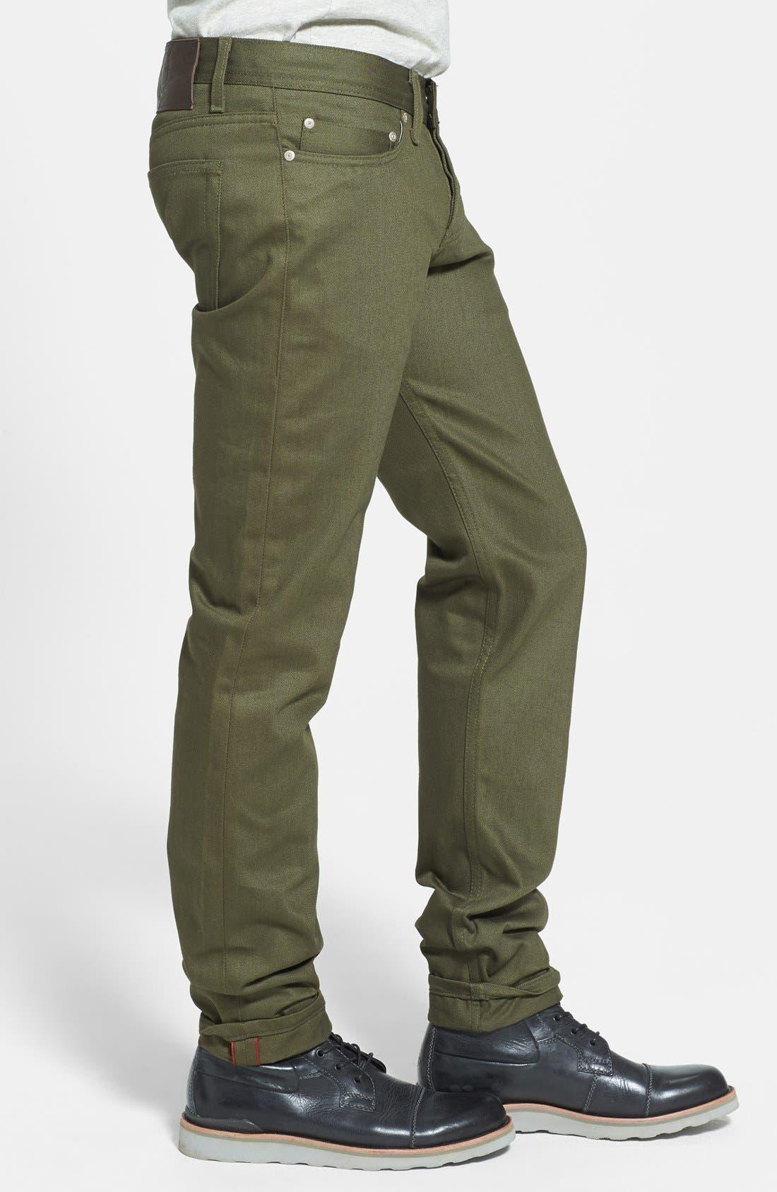 'Weird Guy' Slim Fit Jeans,                             Alternate thumbnail 3, color,                             Khaki Green Selvedge Chino