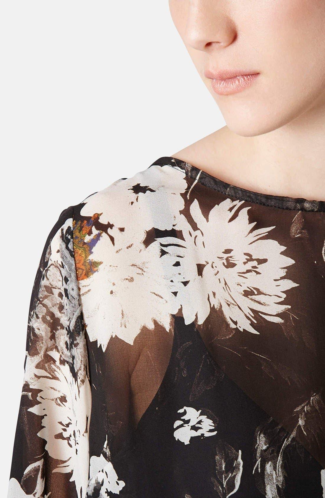 Alternate Image 4  - Topshop Floral Drape Back Blouse