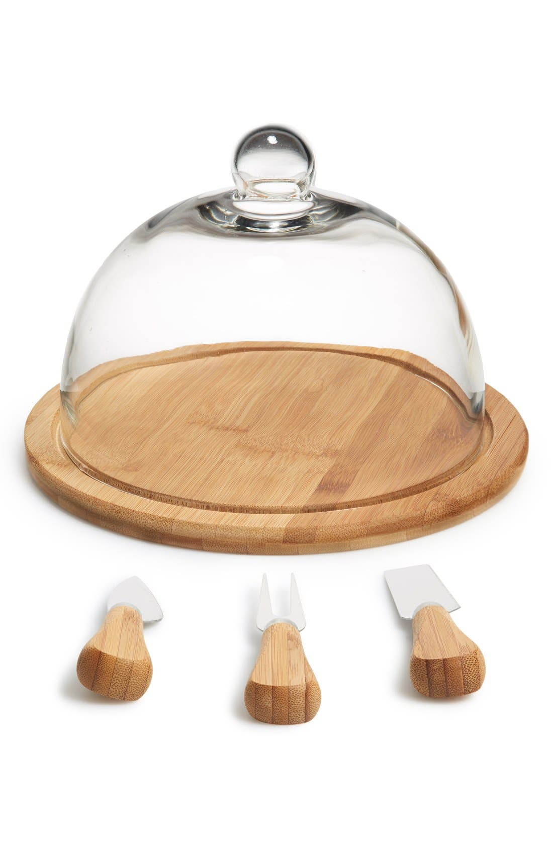 Alternate Image 1 Selected - Core Home Glass Dome Organic Bamboo Cheese Set