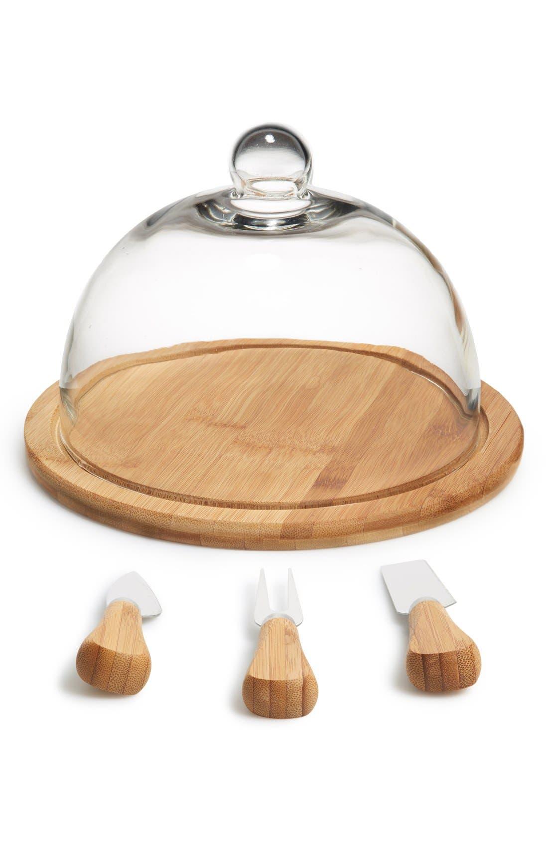 Main Image - Core Home Glass Dome Organic Bamboo Cheese Set