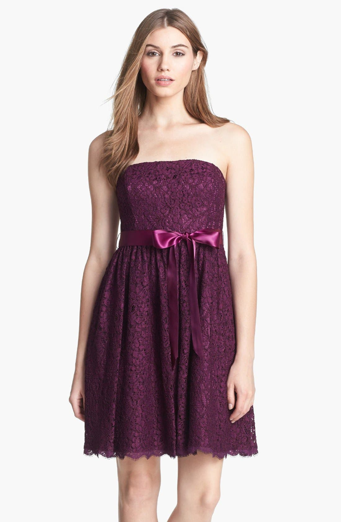Alternate Image 1 Selected - Adrianna Papell Strapless Lace Fit & Flare Dress