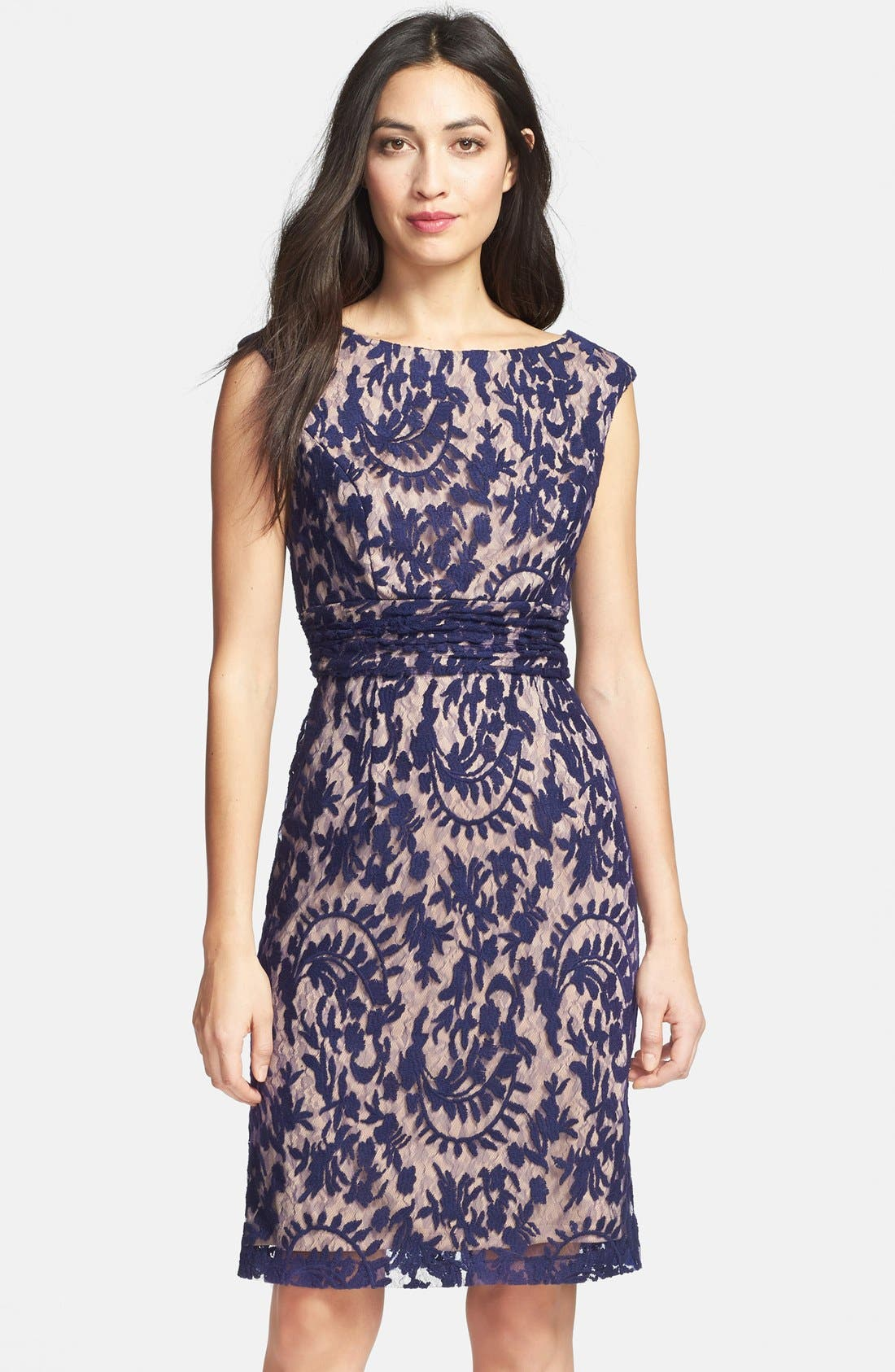 Alternate Image 1 Selected - Adrianna Papell Lace Overlay Sheath Dress