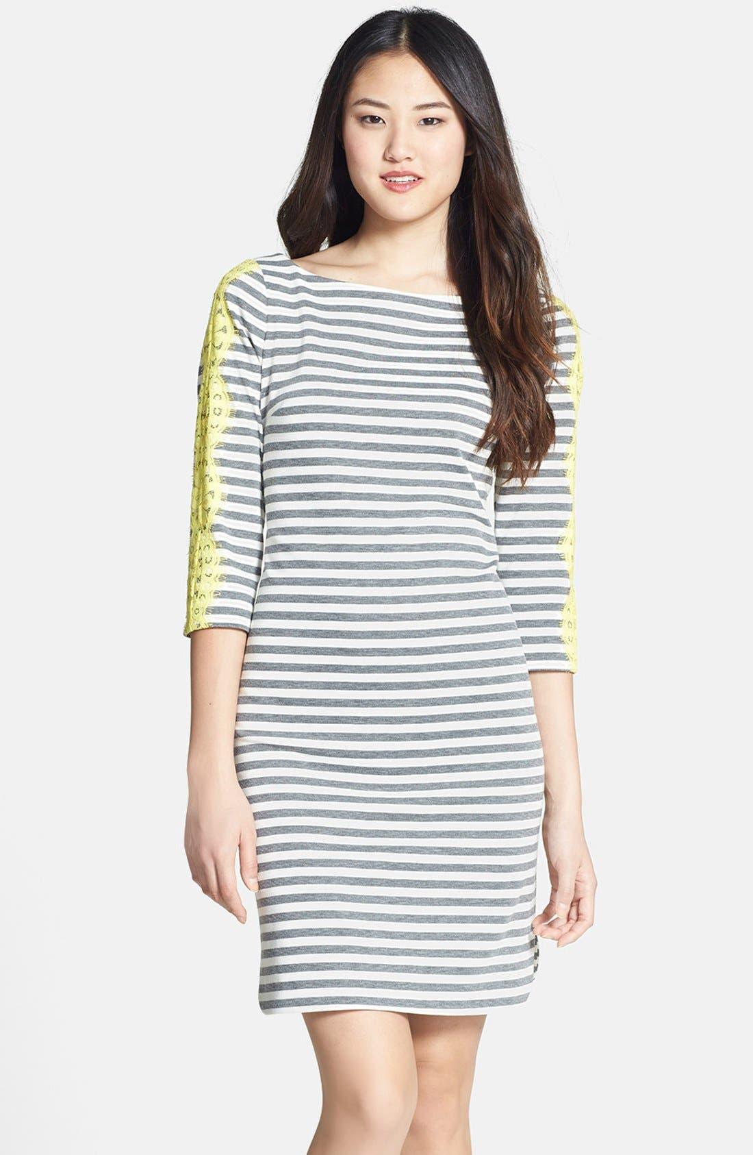 Alternate Image 1 Selected - Eliza J Lace Detail Stripe Ponte Knit Shirttail Dress (Regular & Petite)