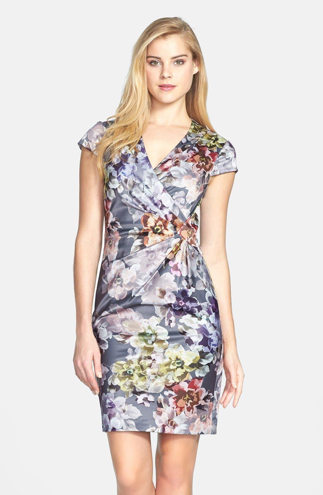 Main Image - Ivy & Blu Print Side Pleat Sheath Dress