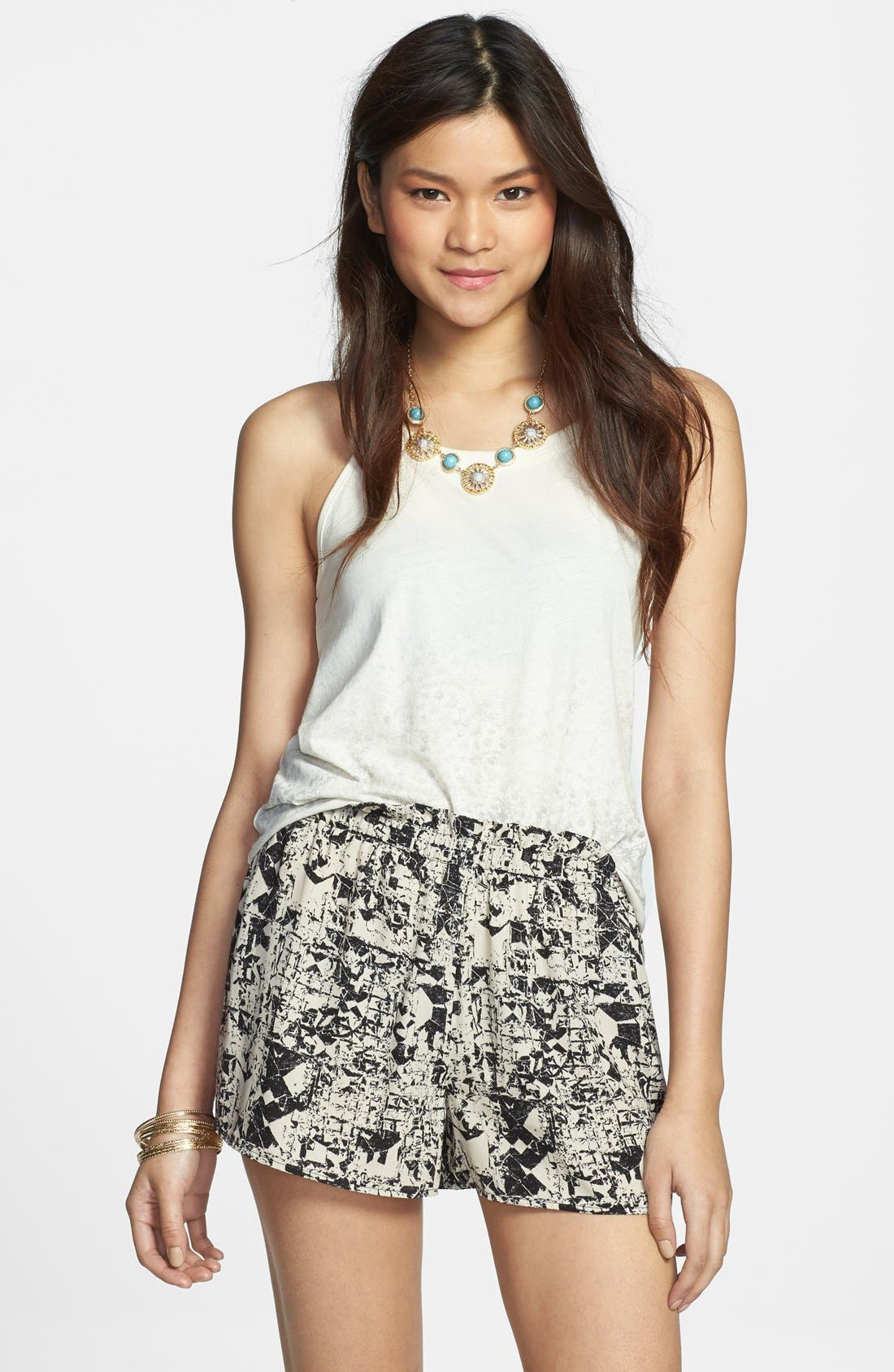 Alternate Image 1 Selected - Soprano Print High Waist Woven Shorts (Juniors) (Online Only)