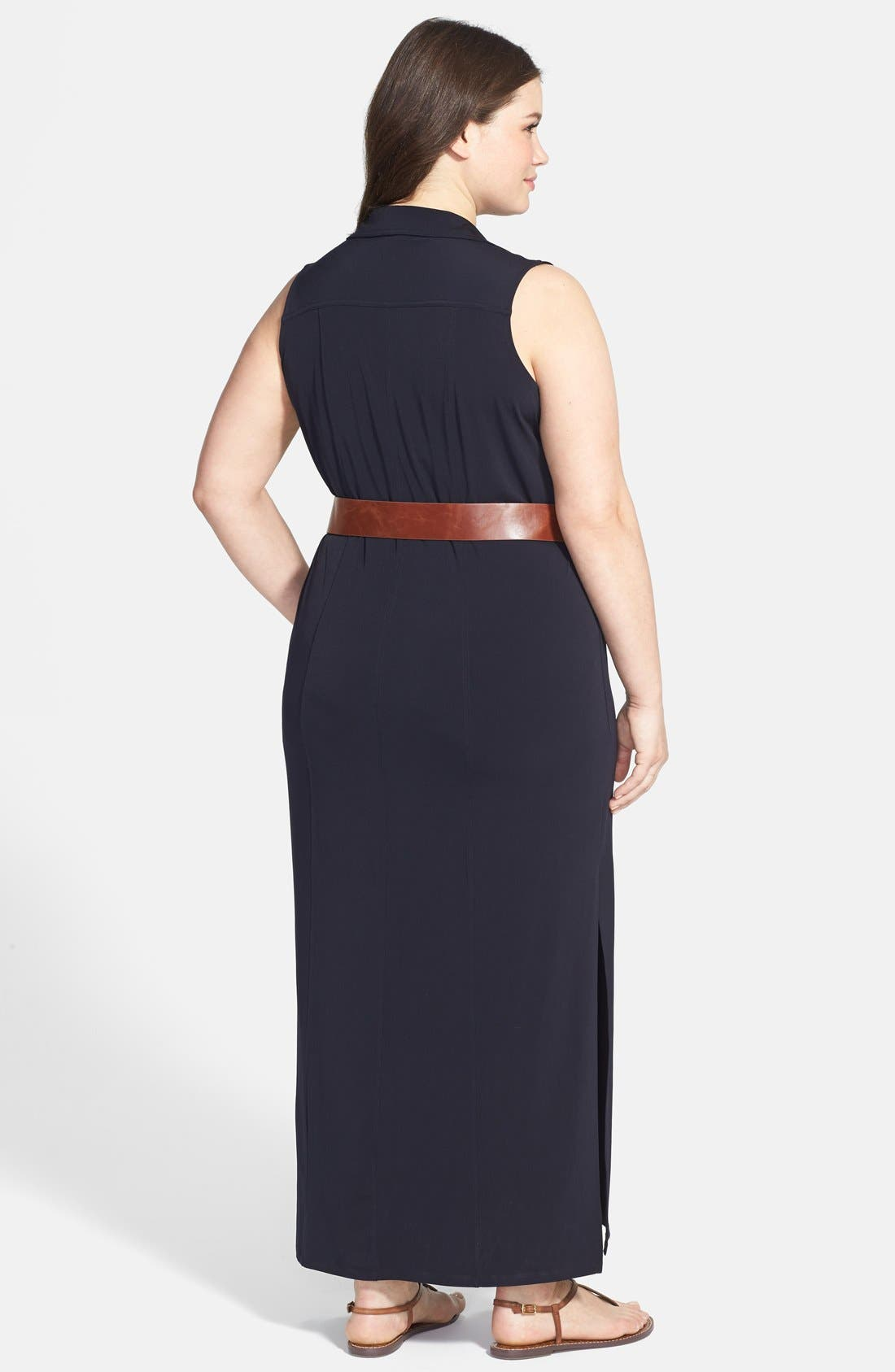 Sleeveless Matte Jersey Maxi Shirtdress,                             Alternate thumbnail 2, color,                             Navy