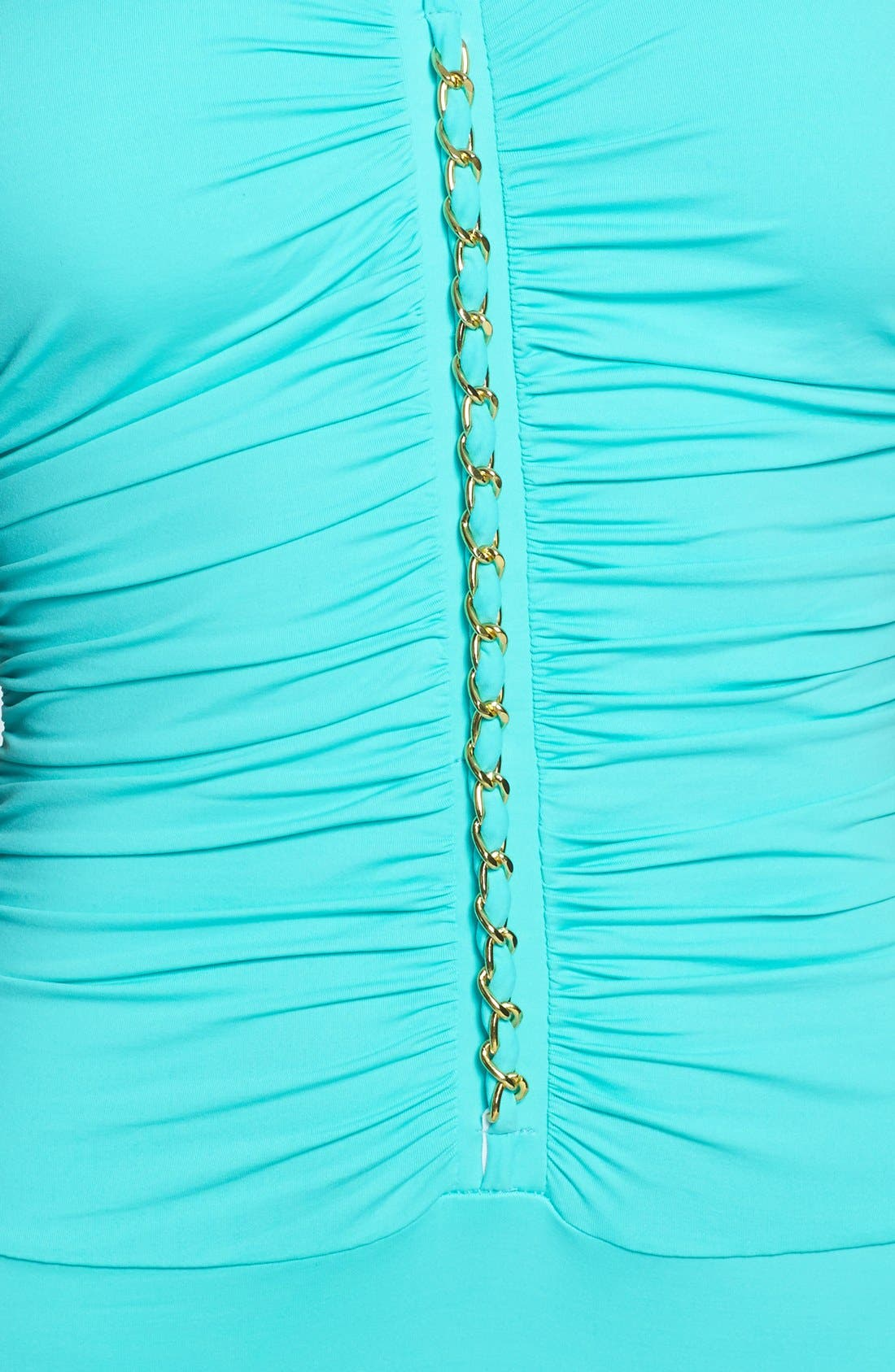 Alternate Image 3  - BLEU Rod Beattie Chain Detail Shirred Maillot