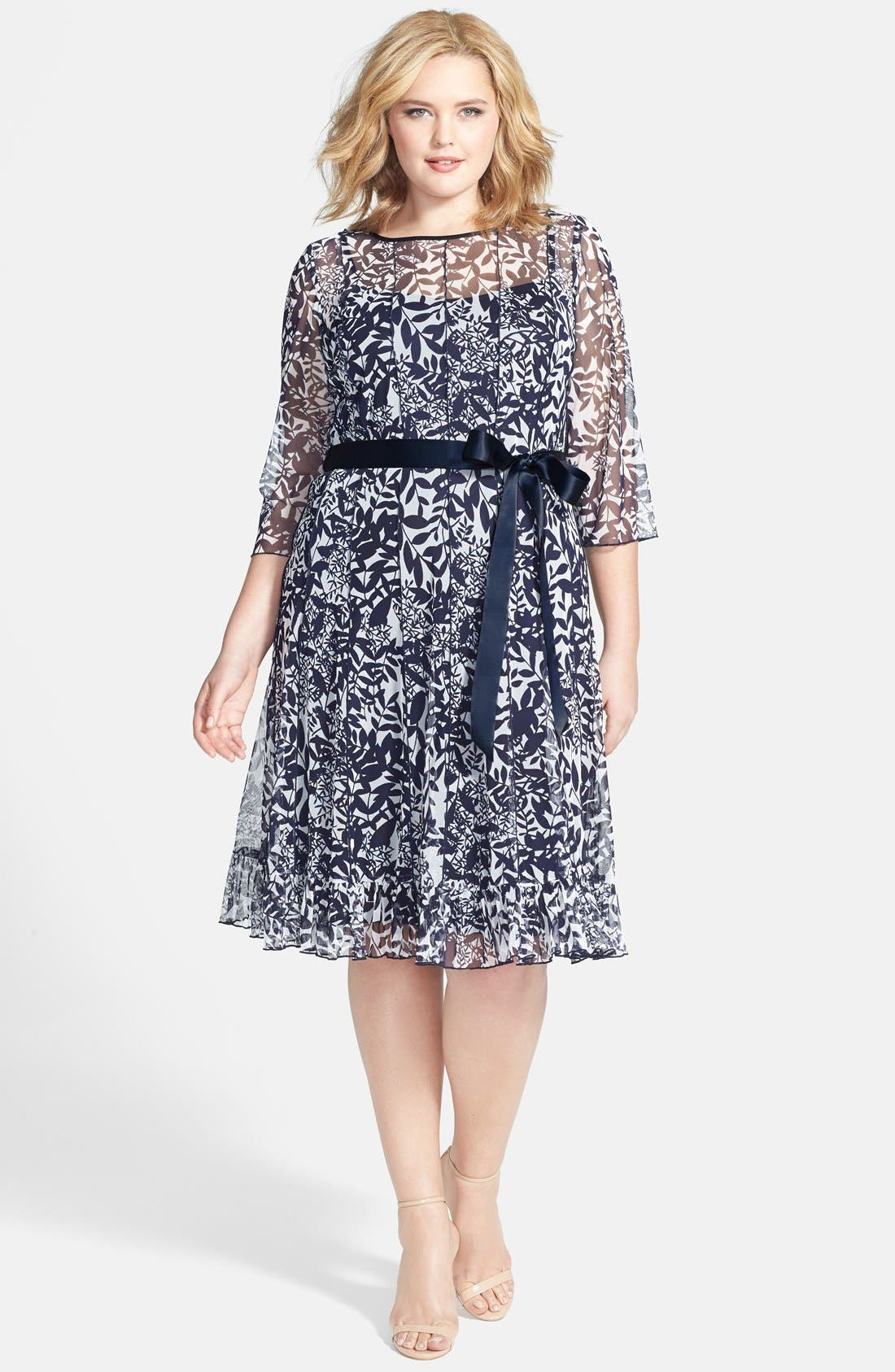 Main Image - Jessica Howard Satin Sash Pintuck Print Dress (Plus Size)
