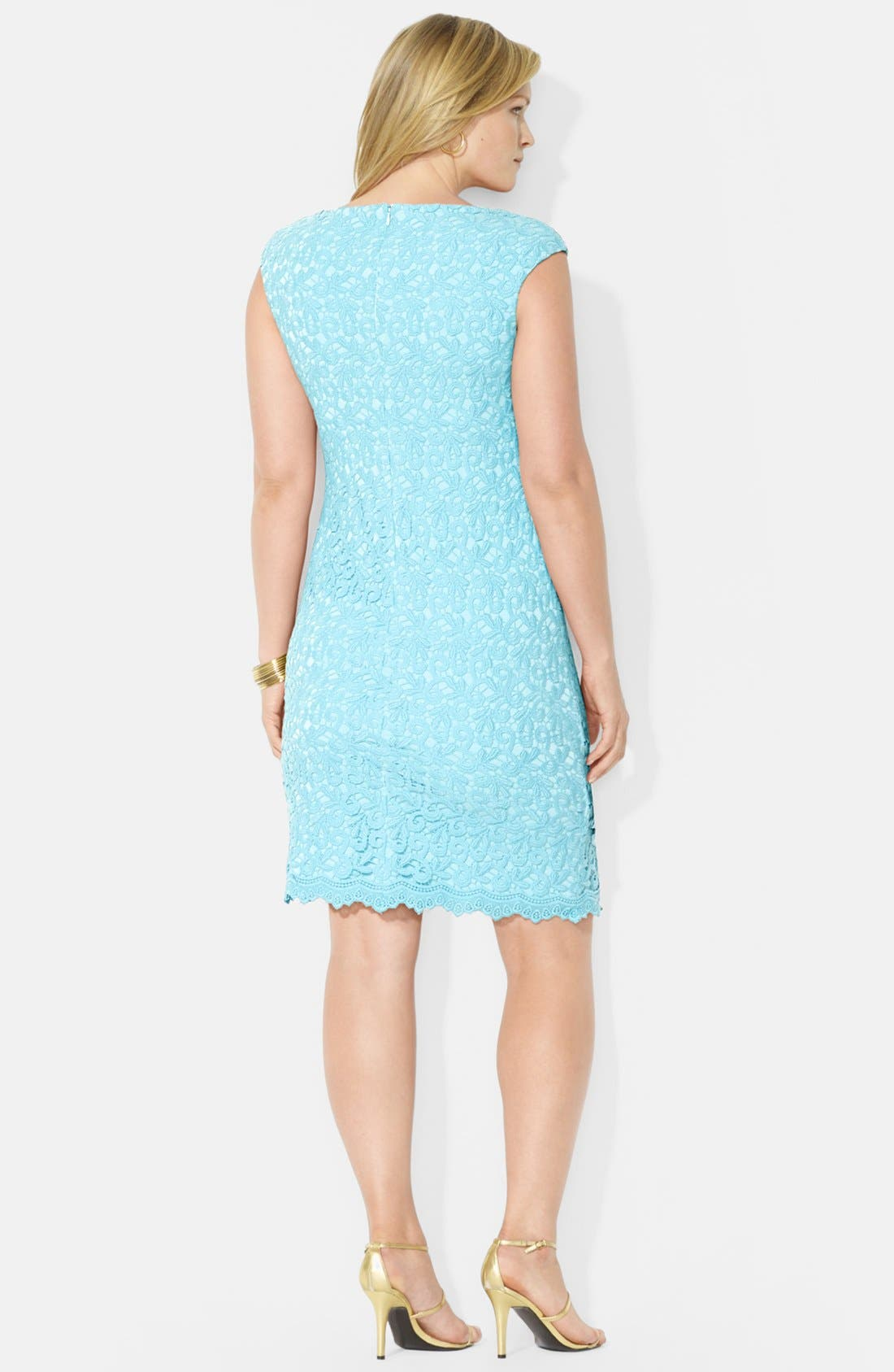 Alternate Image 2  - Lauren Ralph Lauren Cotton Lace Sheath Dress (Plus Size)