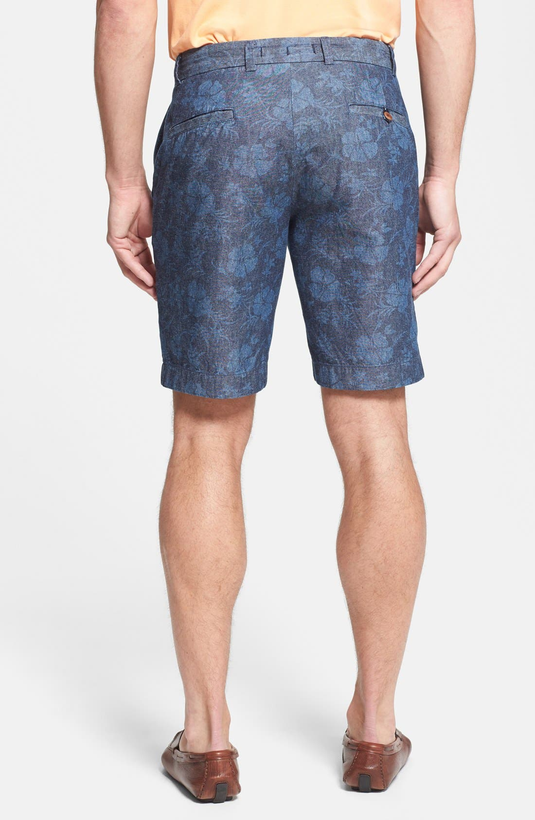 Alternate Image 2  - Brooks Brothers Regular Fit Floral Chambray Shorts