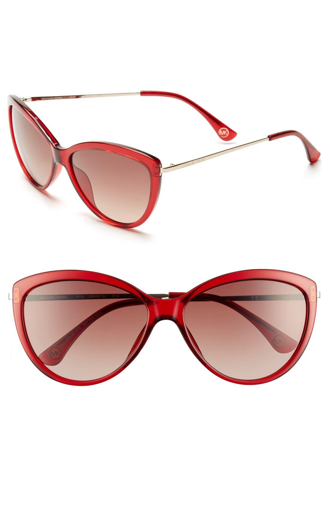 58mm Cat Eye Sunglasses,                         Main,                         color, Crystal Burgundy