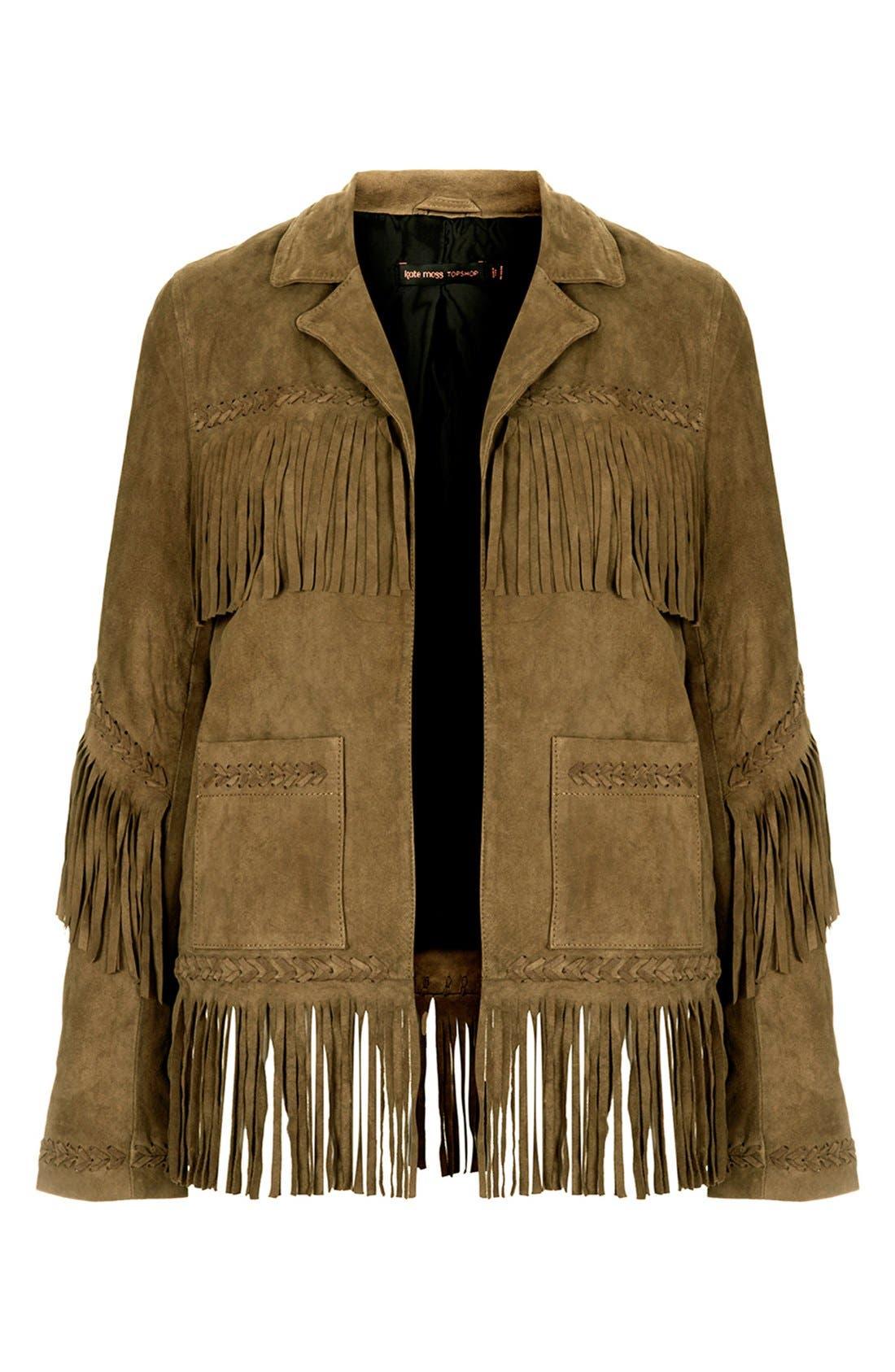 Kate Moss for Topshop Fringed Suede Jacket,                             Alternate thumbnail 3, color,                             Khaki