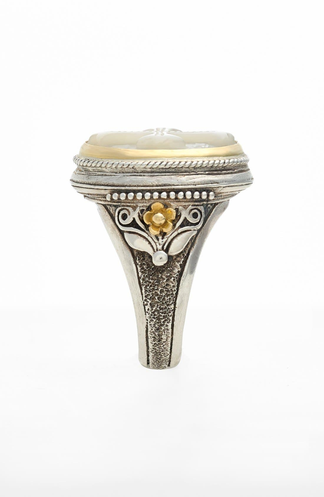 'Athena' Mother of Pearl Signet Ring,                             Alternate thumbnail 2, color,                             Silver/ Gold