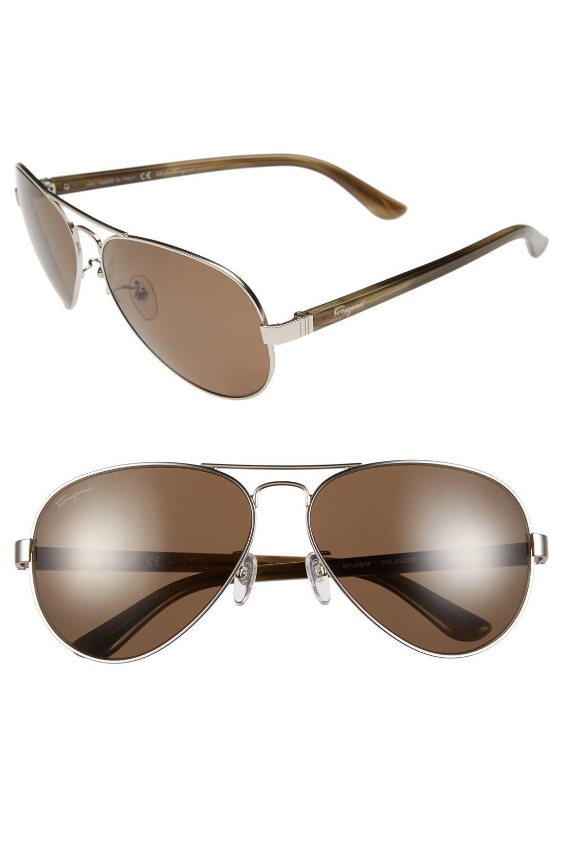 Main Image - Salvatore Ferragamo 62mm Aviator Sunglasses