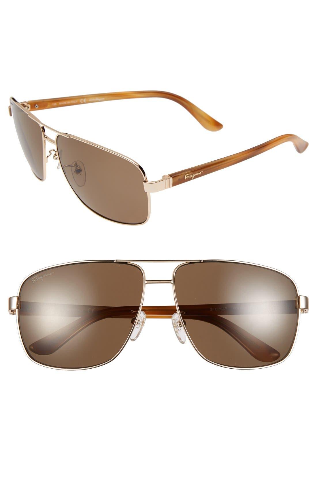 Alternate Image 1 Selected - Salvatore Ferragamo 61mm Polarized Aviator Sunglasses