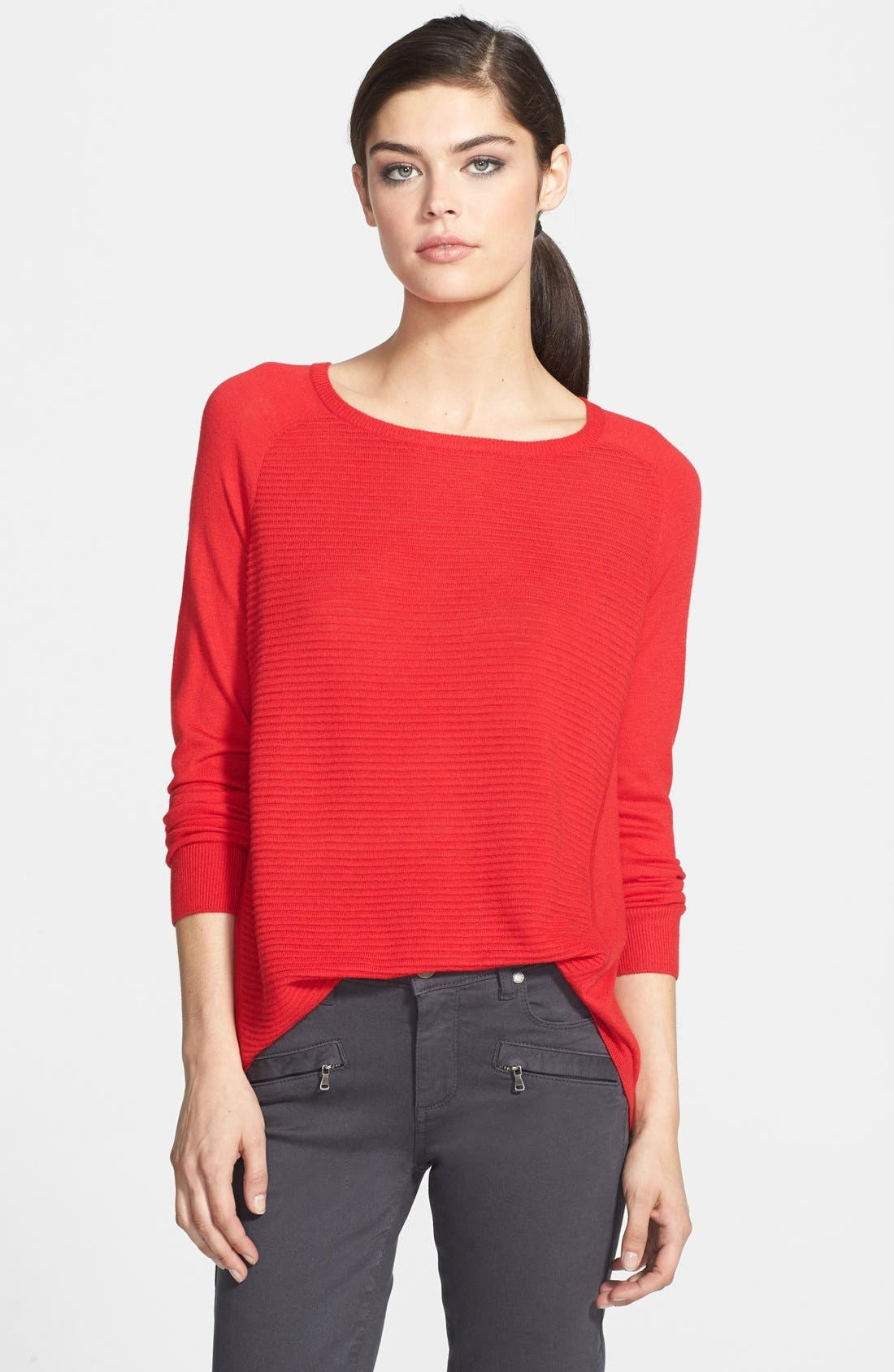 Textured Stripe Lightweight Crewneck Sweater,                         Main,                         color, Red Mars
