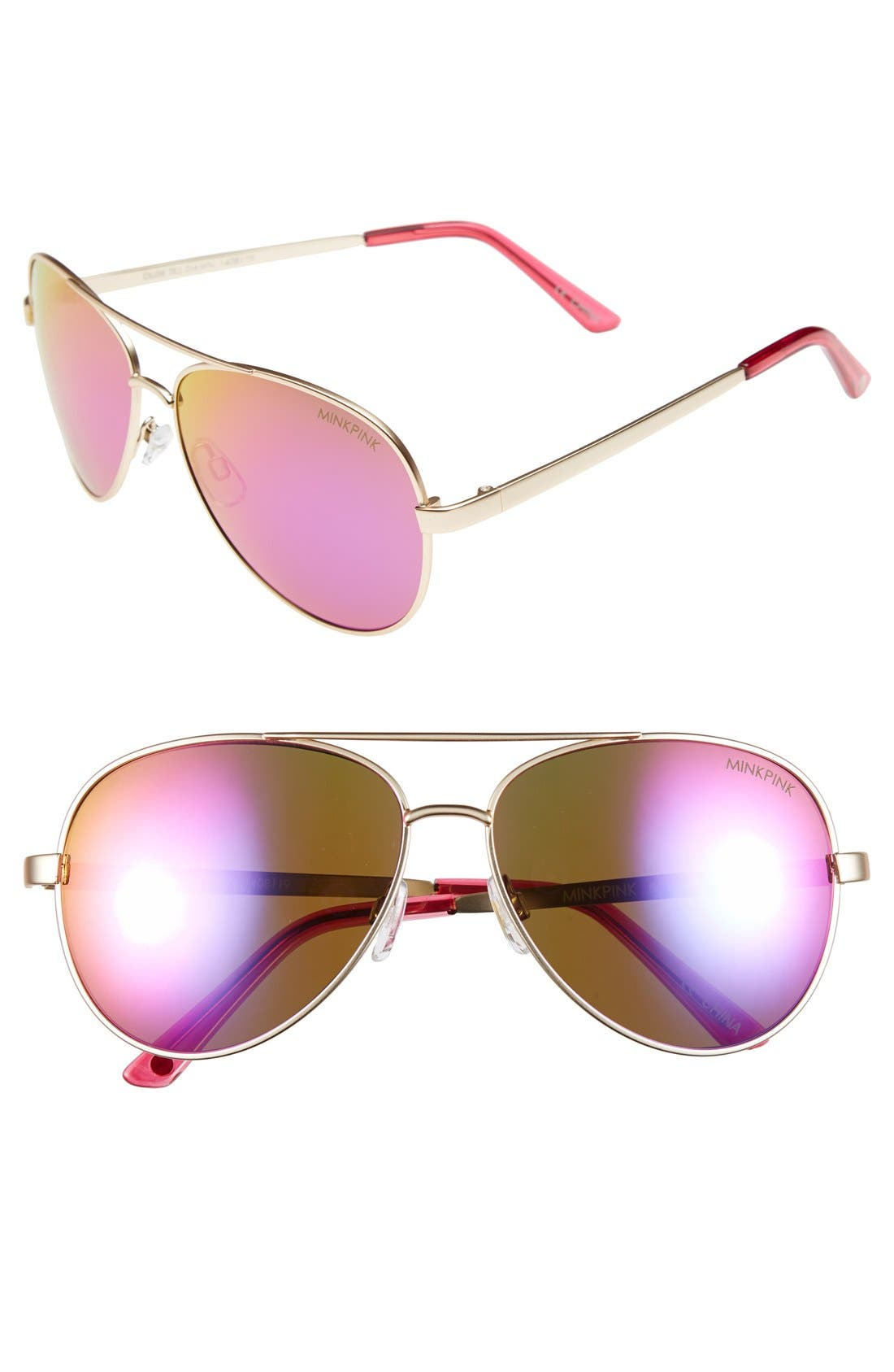 Main Image - MINKPINK 60mm Aviator Sunglasses