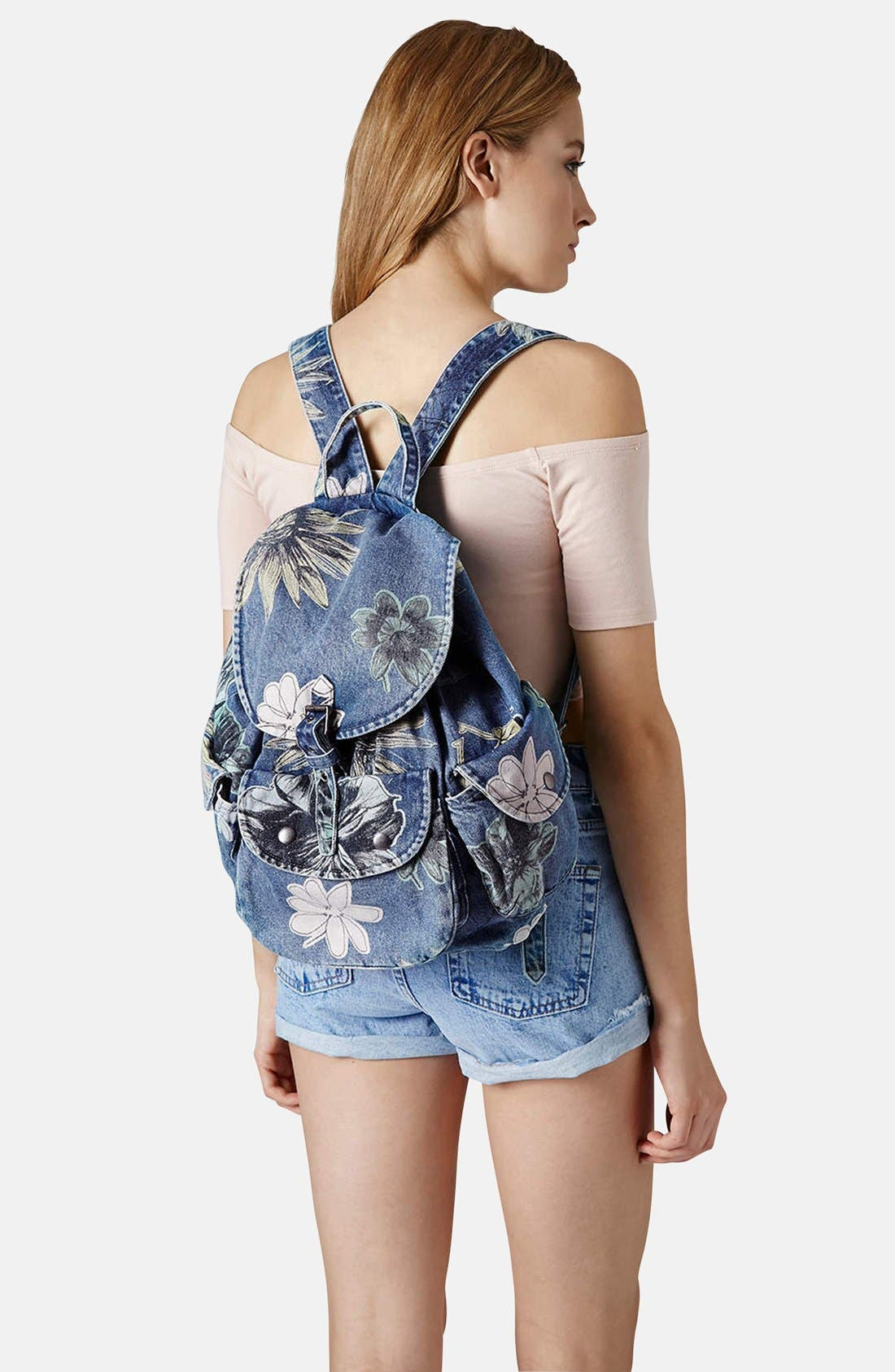 Alternate Image 2  - Topshop 'Mom' Floral Denim Backpack