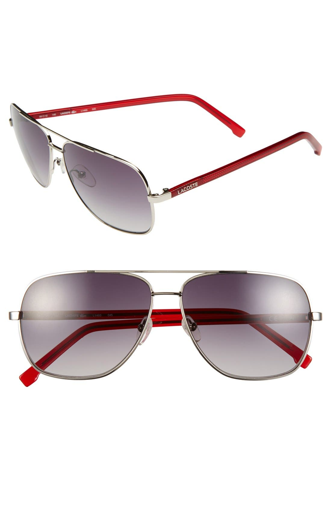 Main Image - Lacoste 59mm Aviator Sunglasses