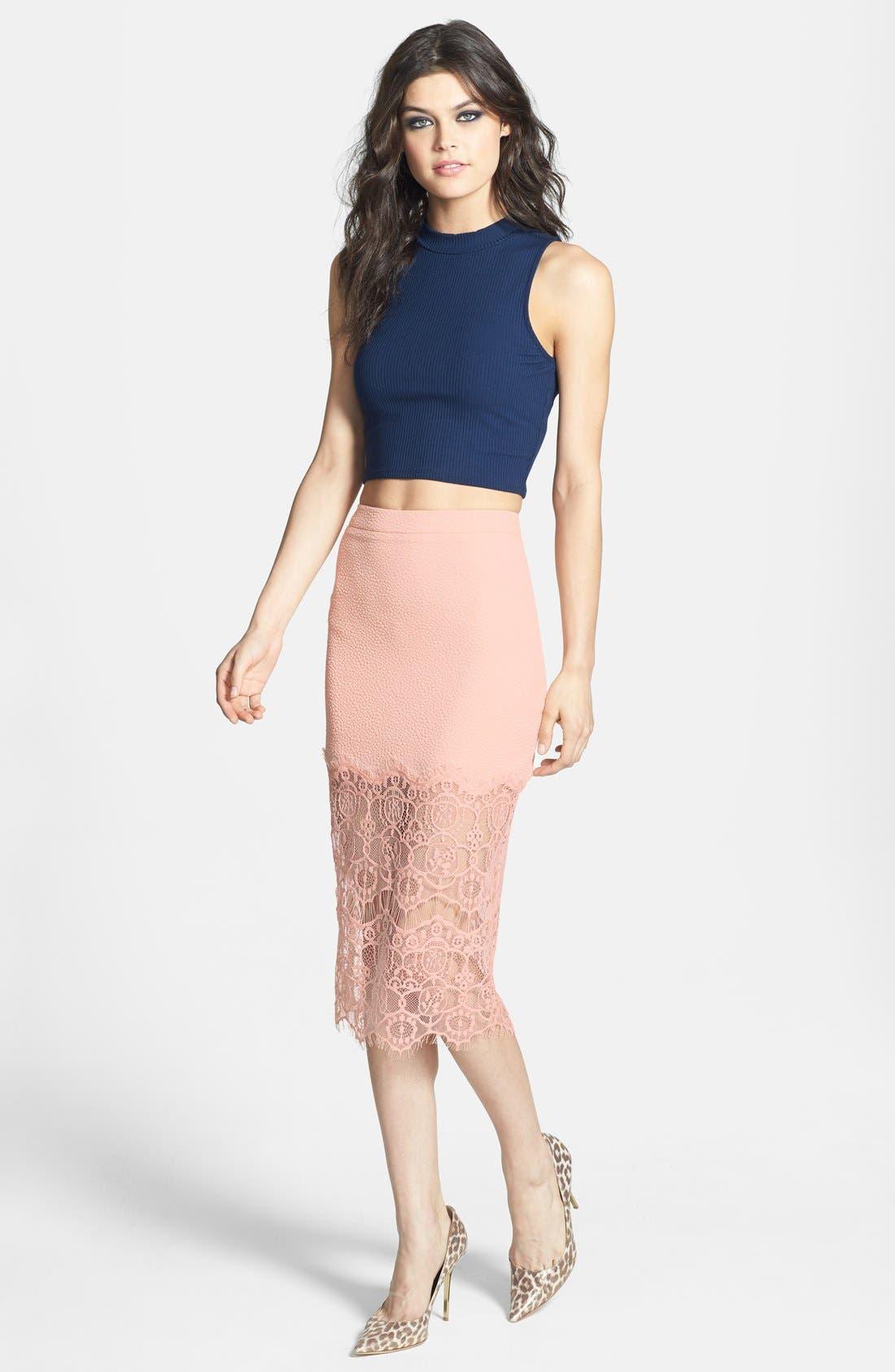 Alternate Image 4  - ASTR Textured Lace Hem Pencil Skirt