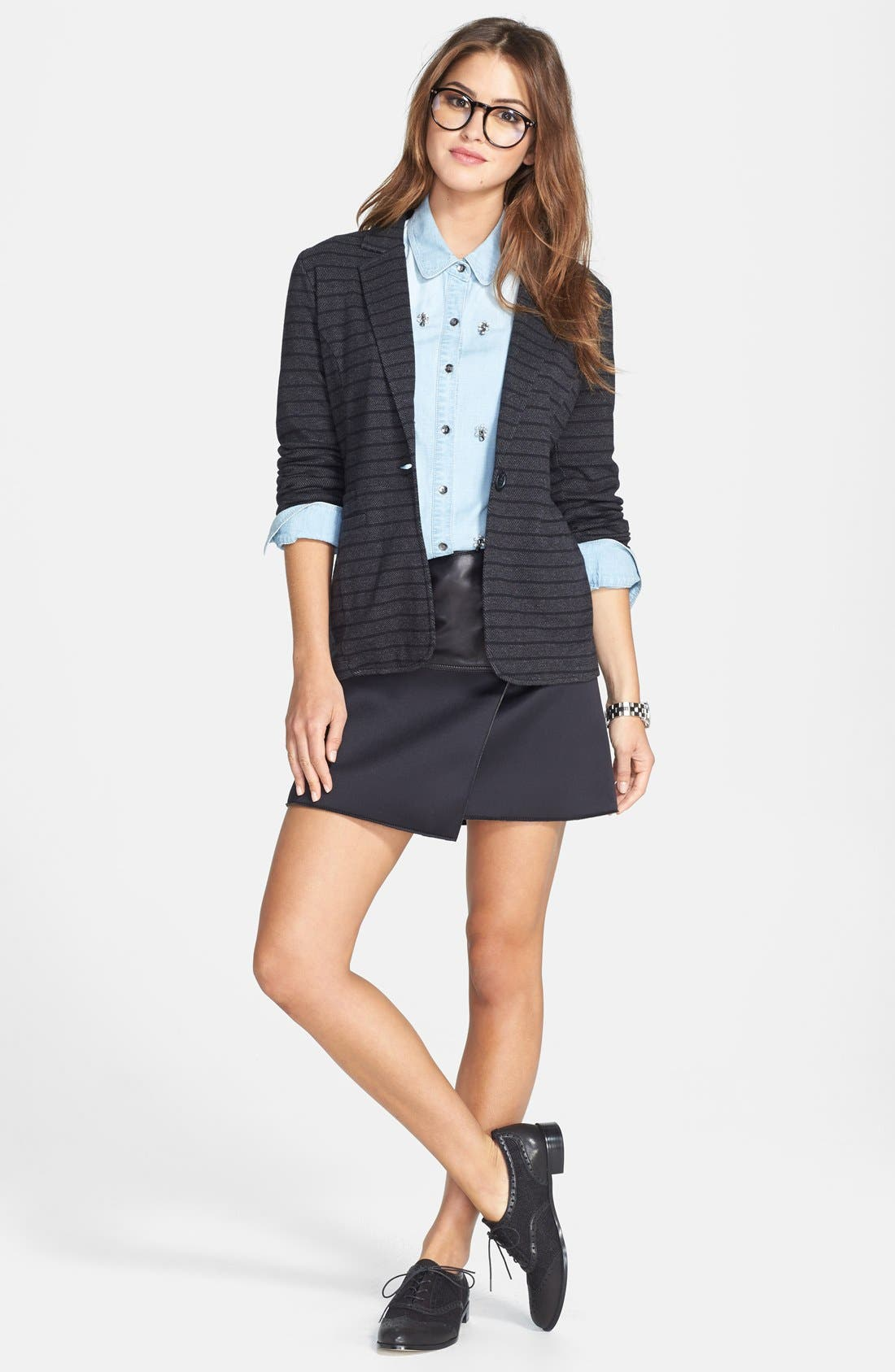 Alternate Image 4  - Halogen® Asymmetrical Zip Leather & Scuba Knit Skirt (Regular & Petite)