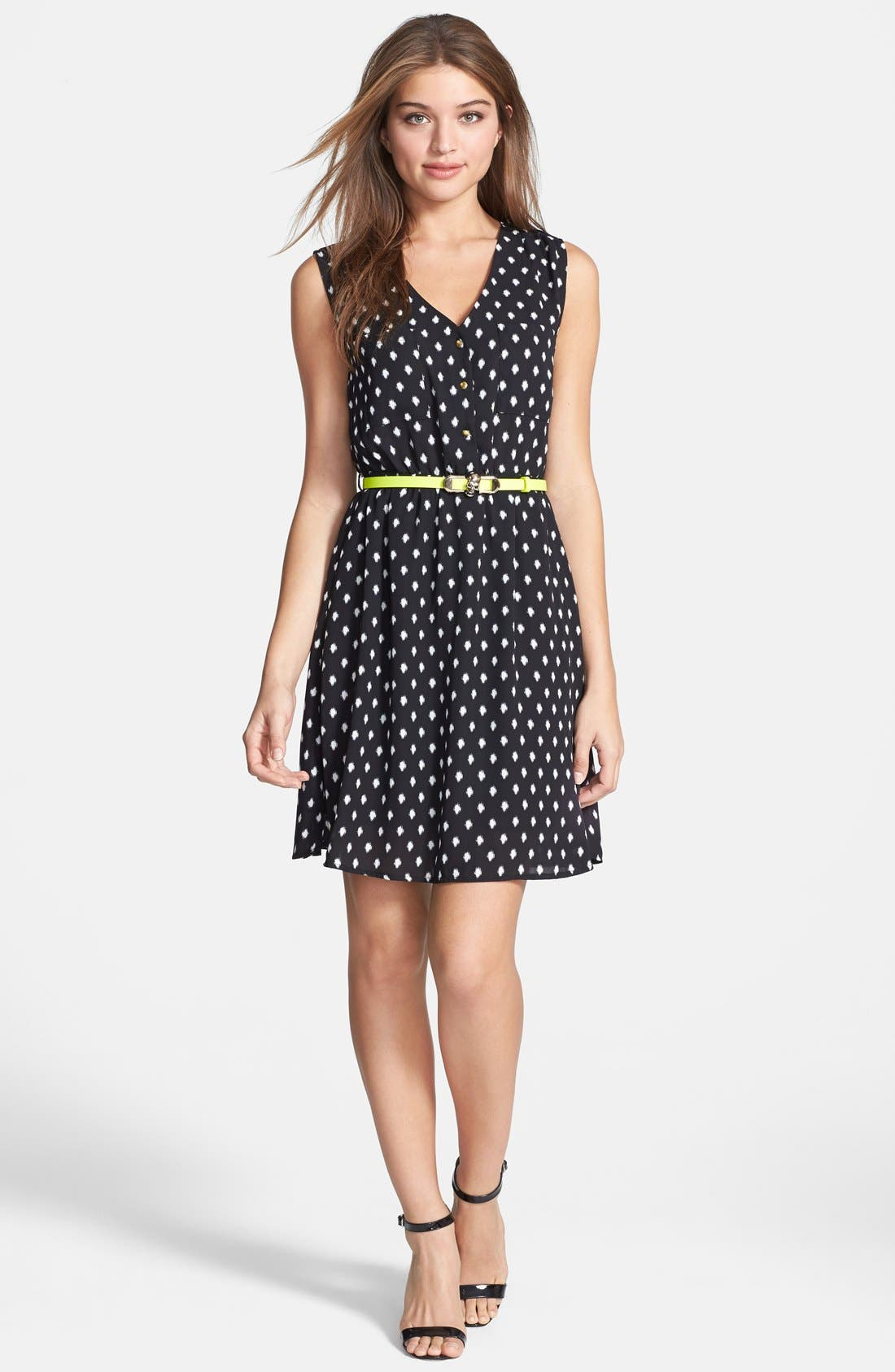 Alternate Image 1 Selected - Dex 'Fuzzy Dot' Fit & Flare Dress