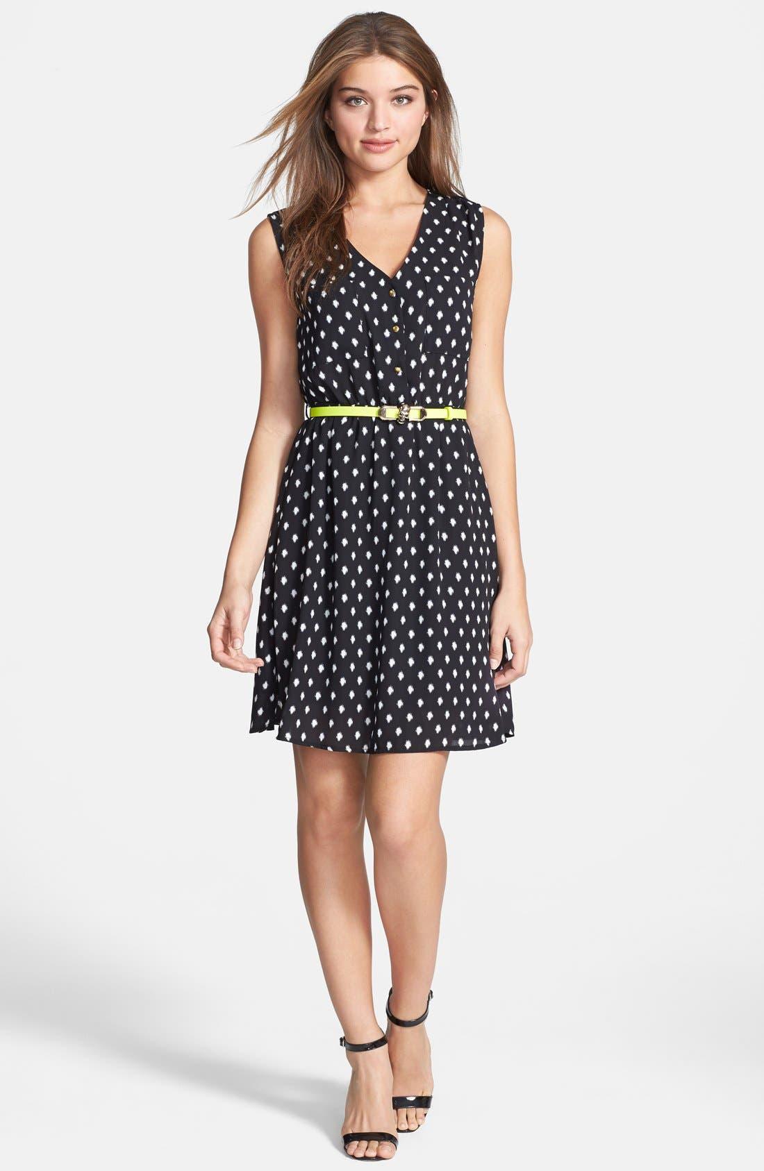 Main Image - Dex 'Fuzzy Dot' Fit & Flare Dress