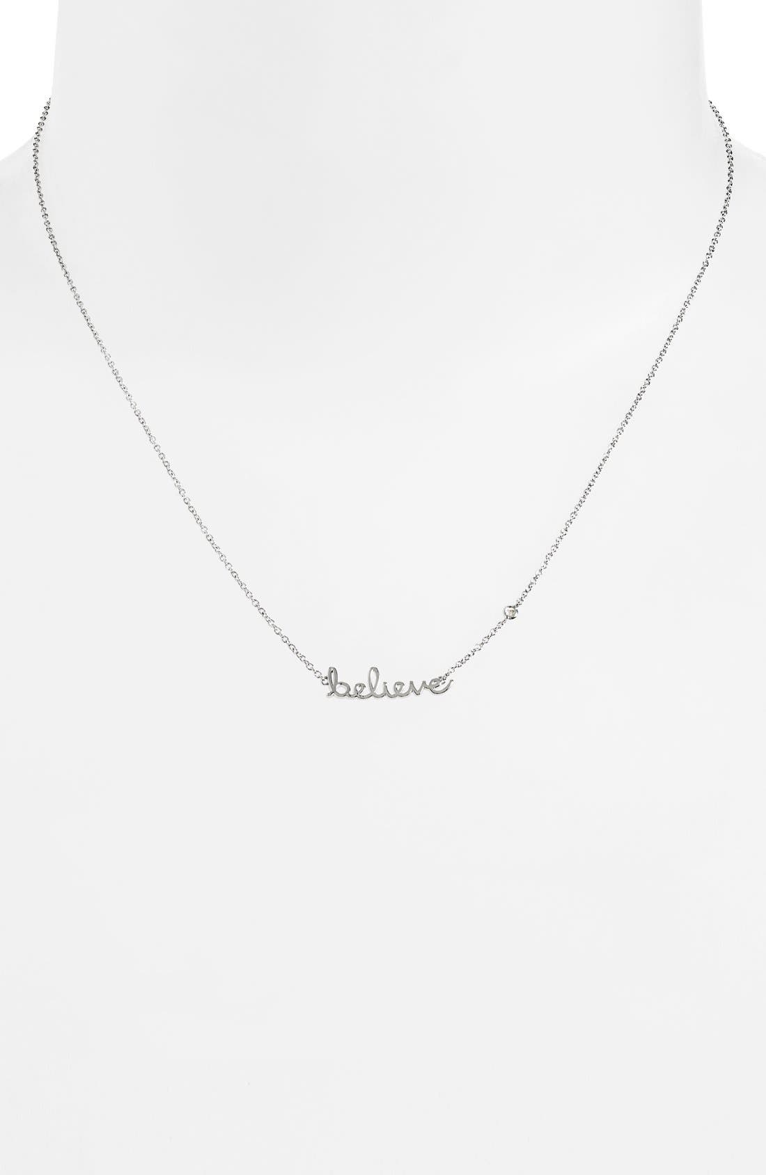 'Believe' Necklace,                             Alternate thumbnail 2, color,                             Silver