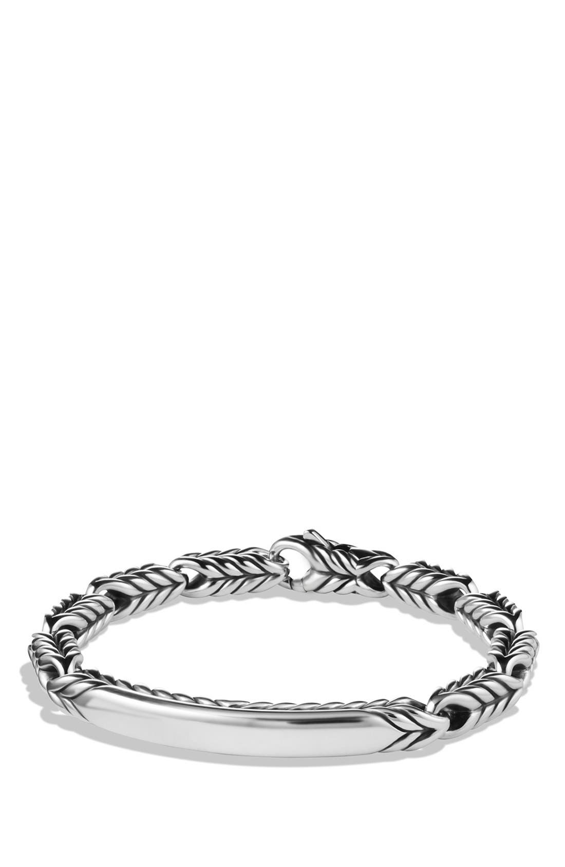 'Chevron' ID Bracelet,                         Main,                         color, Silver