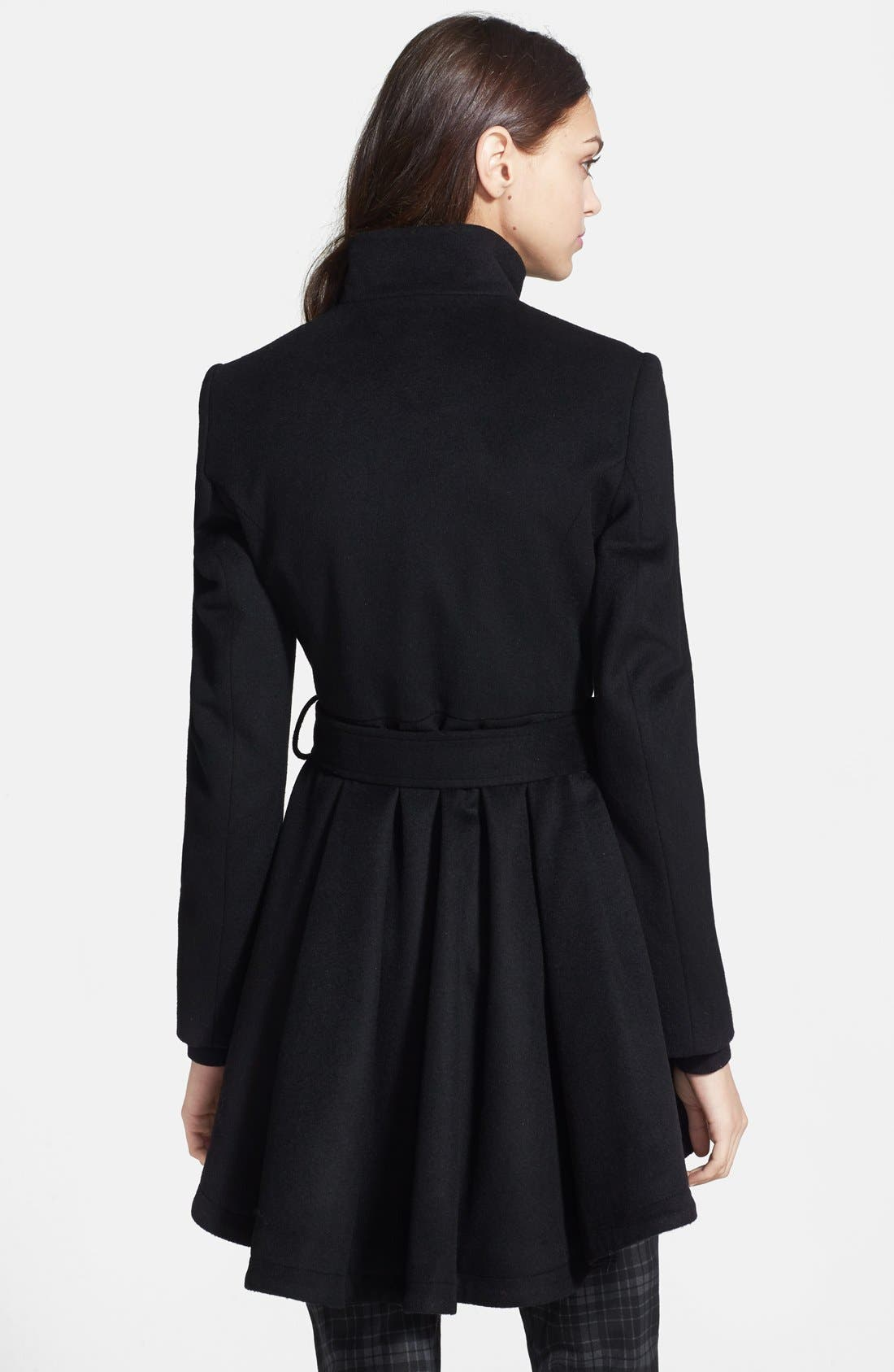 Belted Skirted Wool Blend Coat,                             Alternate thumbnail 2, color,                             Black