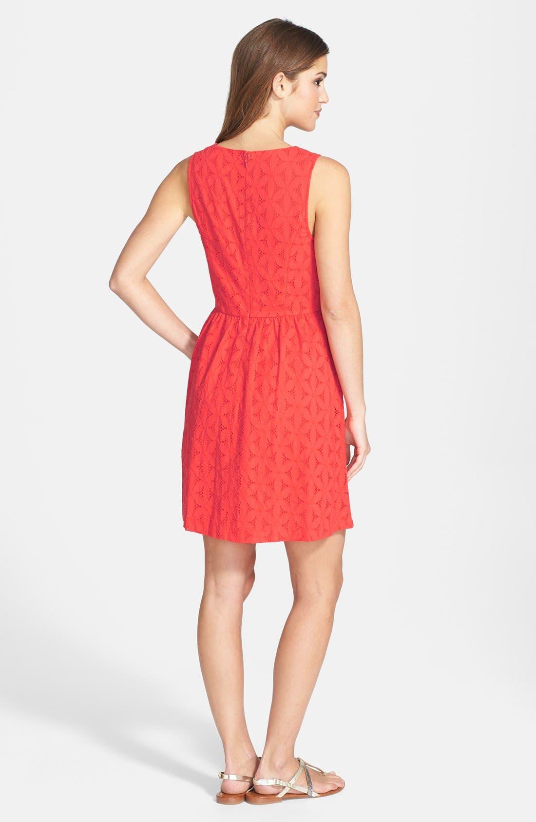 Alternate Image 2  - kensie Embroidered Eyelet Cotton Fit & Flare Dress