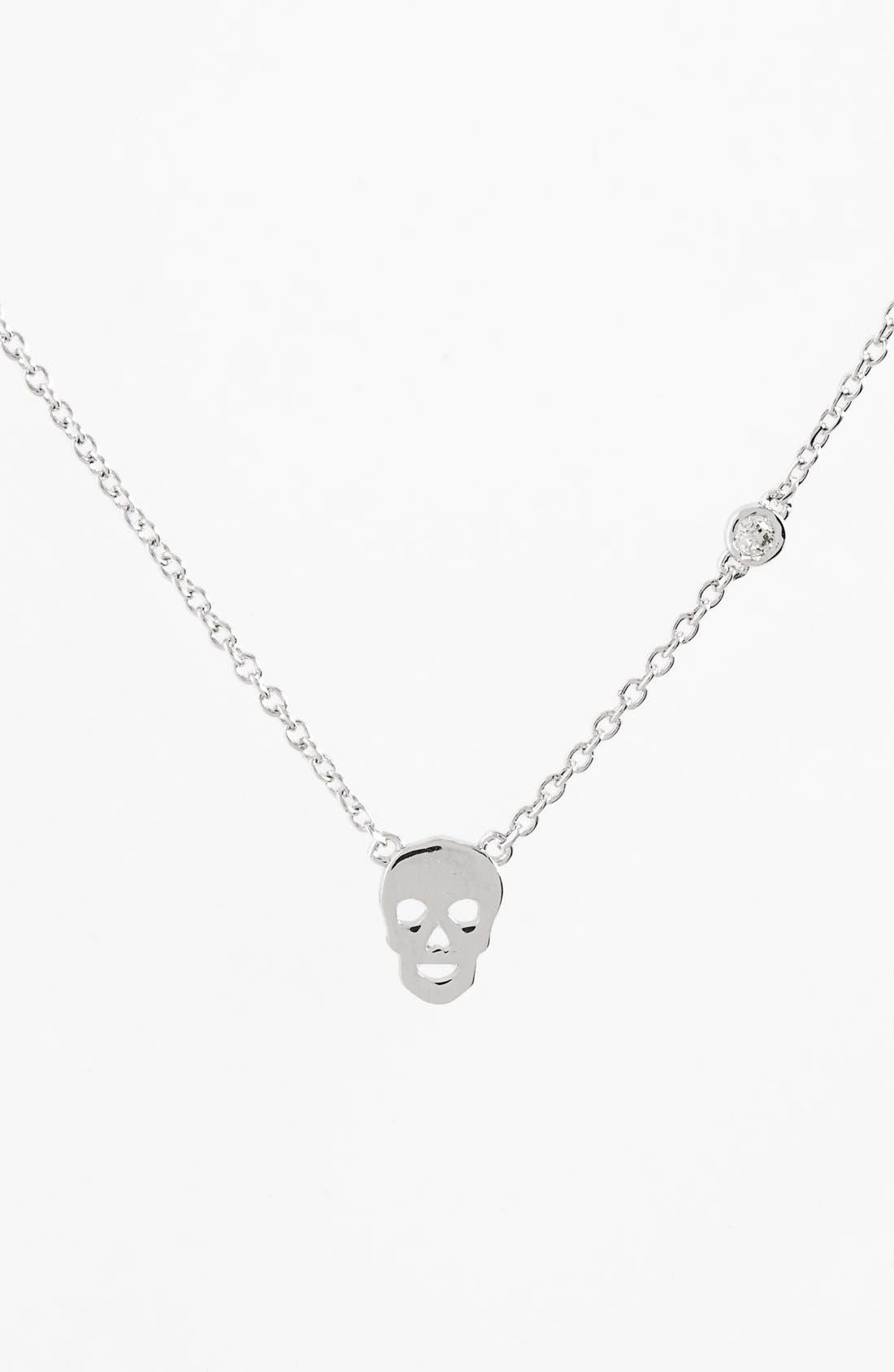 Skull Necklace,                         Main,                         color, Silver