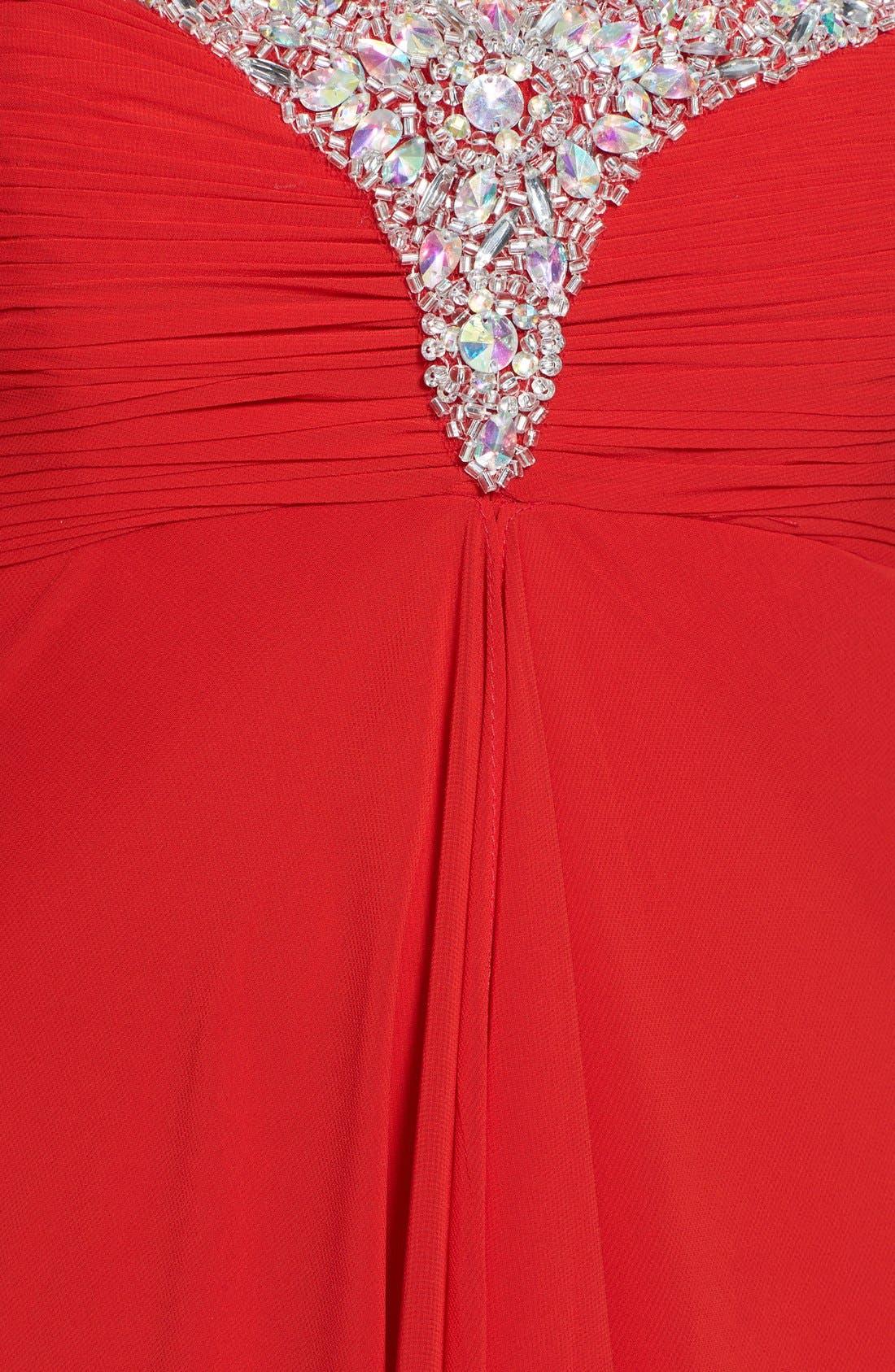 Alternate Image 3  - Faviana Jeweled Layered Chiffon Gown (Online Exclusive)