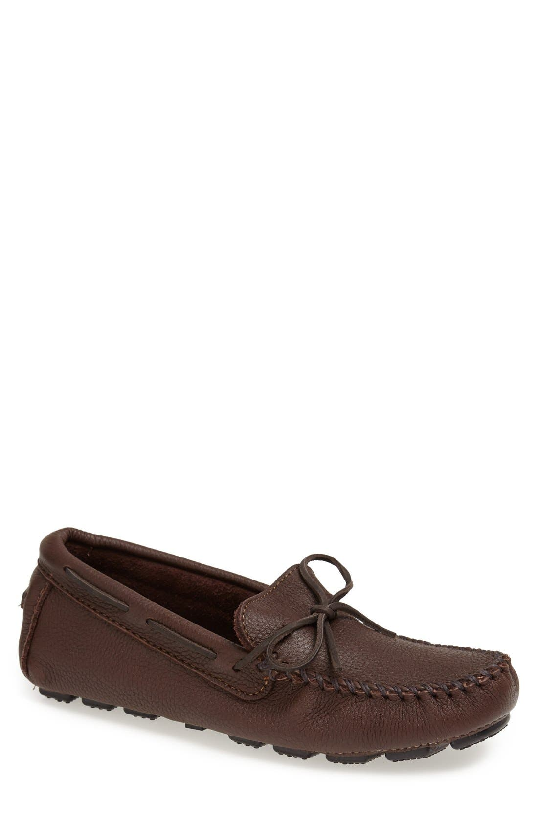 Moosehide Driving Shoe,                             Main thumbnail 1, color,                             Chocolate