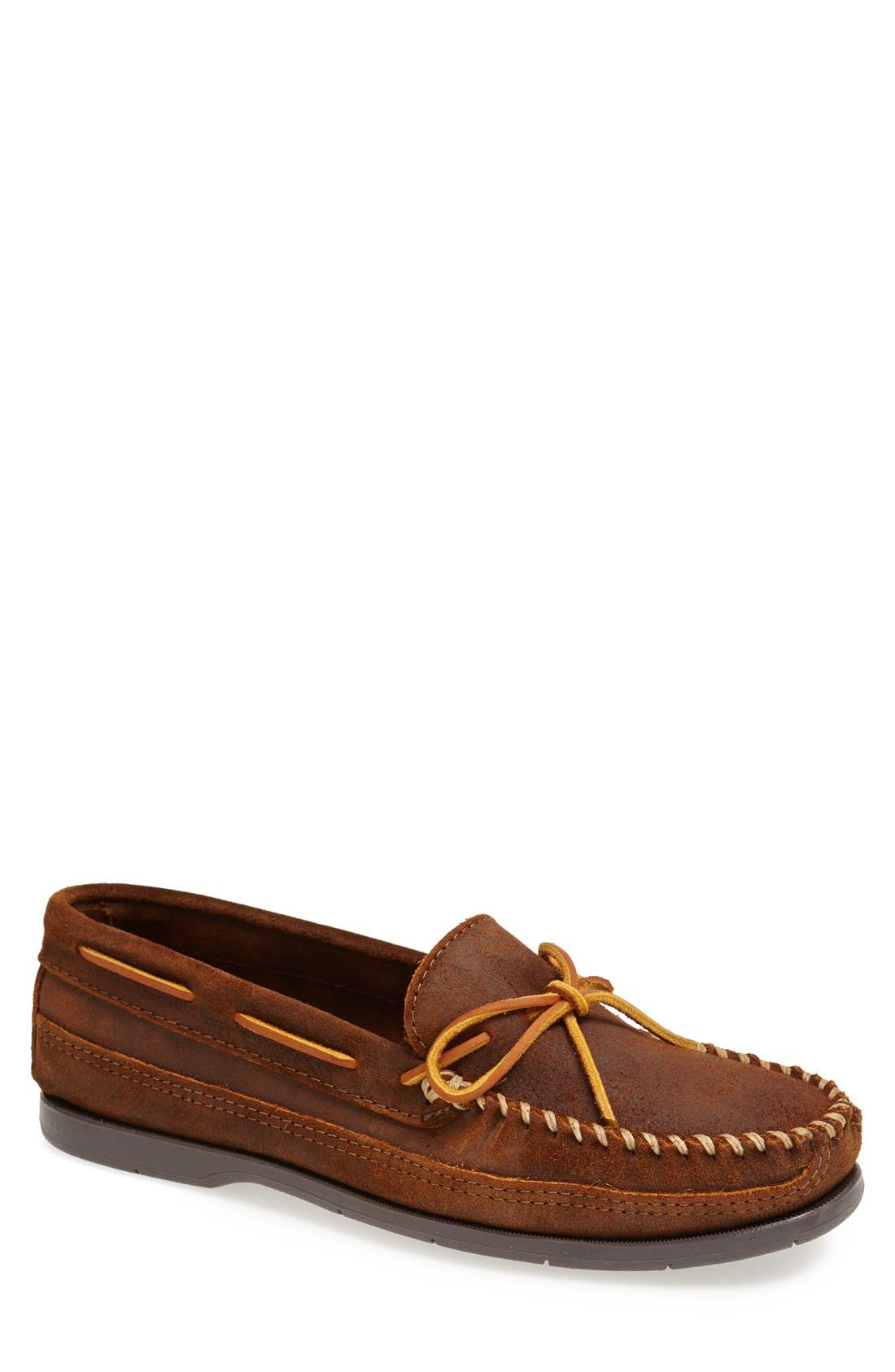 Leather Moccasin,                             Main thumbnail 1, color,                             Brown Ruff