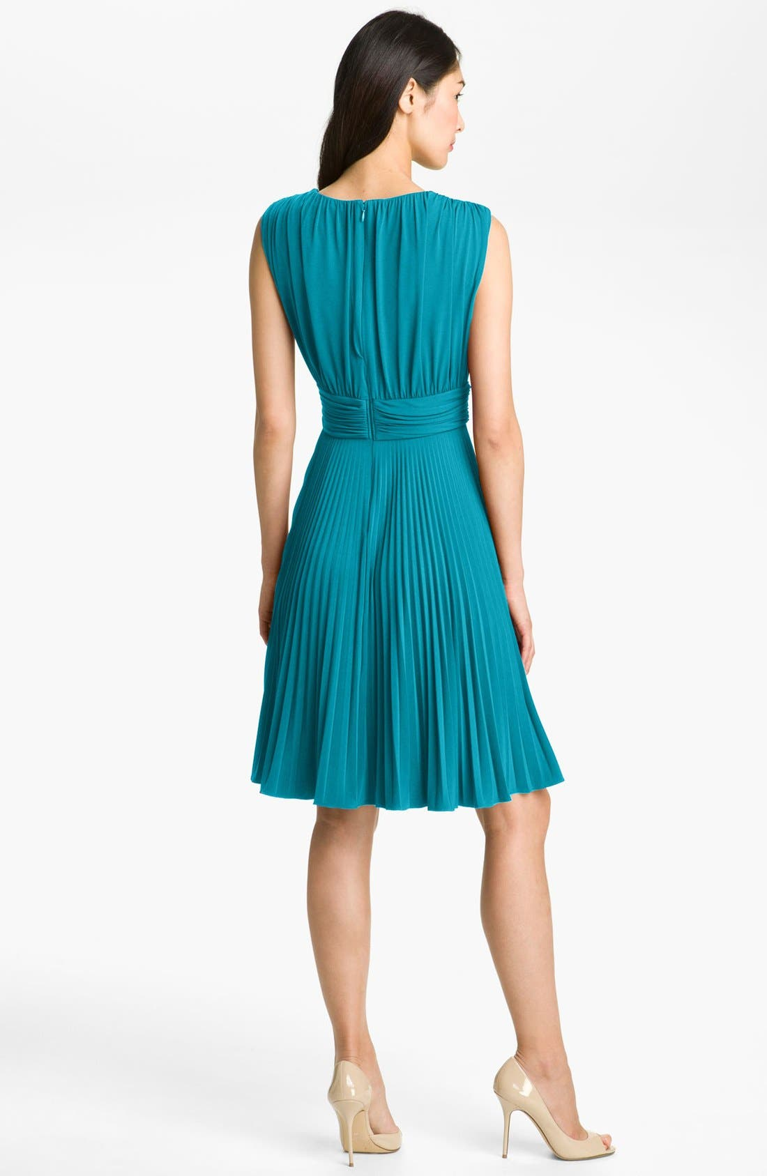 Pleated Jersey Fit & Flare Dress,                             Alternate thumbnail 2, color,                             Turquoise