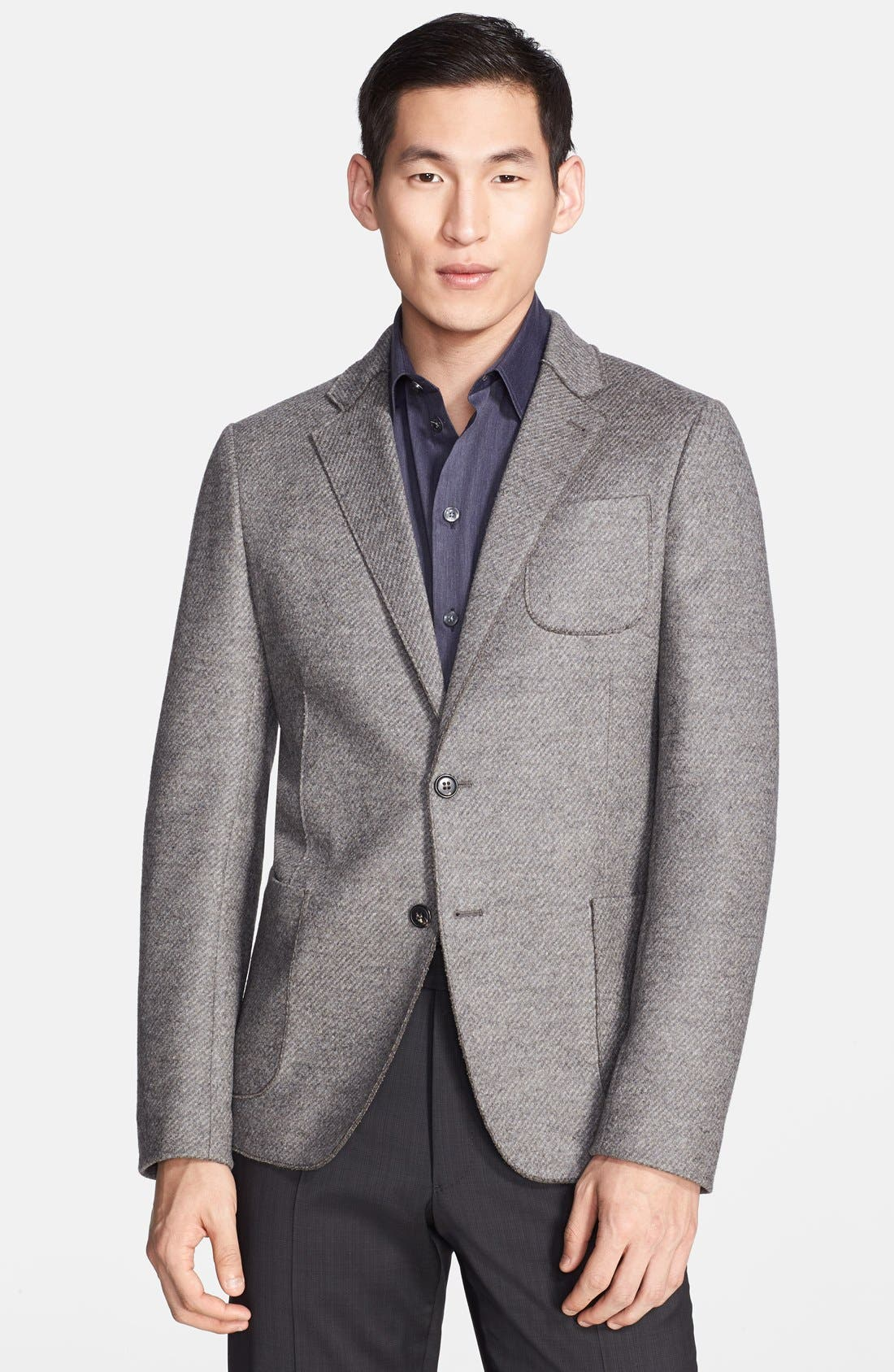 Alternate Image 1 Selected - Armani Collezioni Light Grey Raw Edge Wool Blend Sport Coat