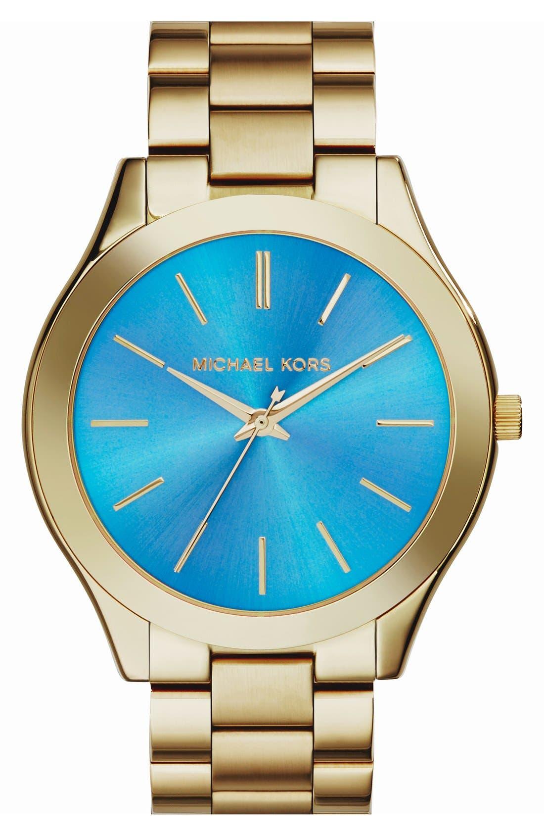 Alternate Image 1 Selected - Michael Kors 'Slim Runway' Bracelet Watch, 42mm