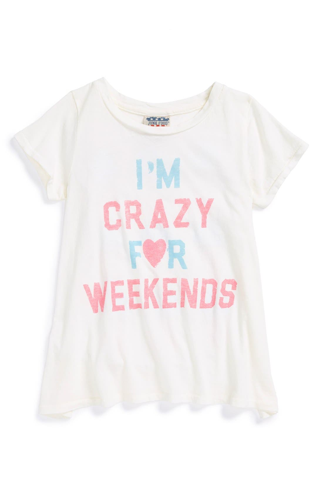 Main Image - Junk Food 'I'm Crazy for Weekends' Tee (Big Girls)